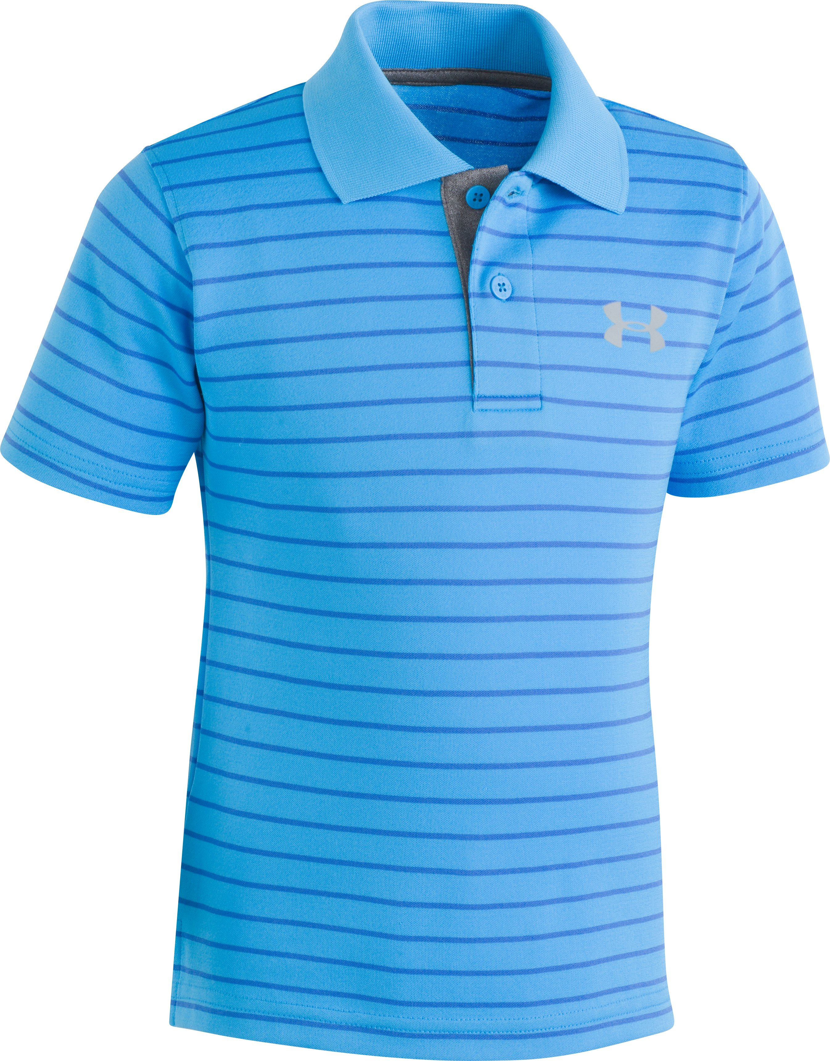 Playoff Stripe Polo 12-24M, Canoe Blue, zoomed