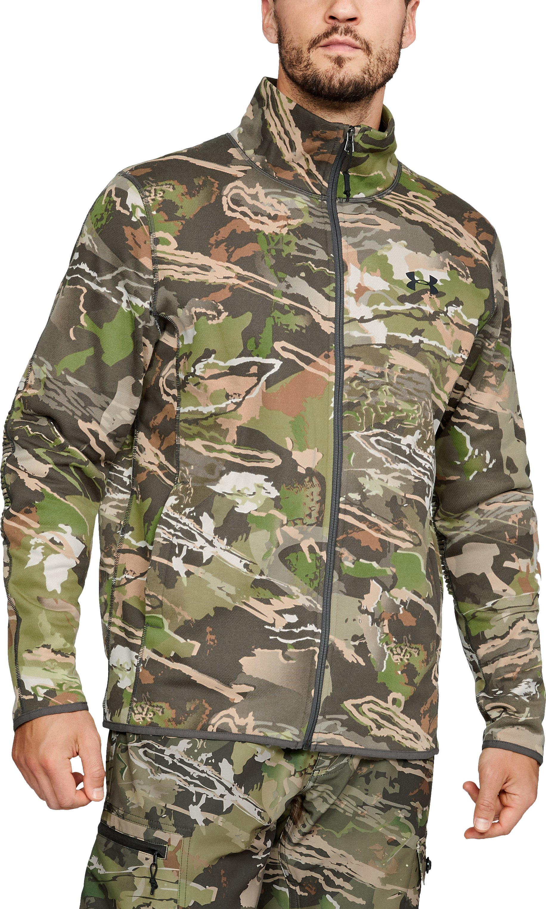 Men's UA Rut Fleece Full Zip Jacket, UA Forest Camo