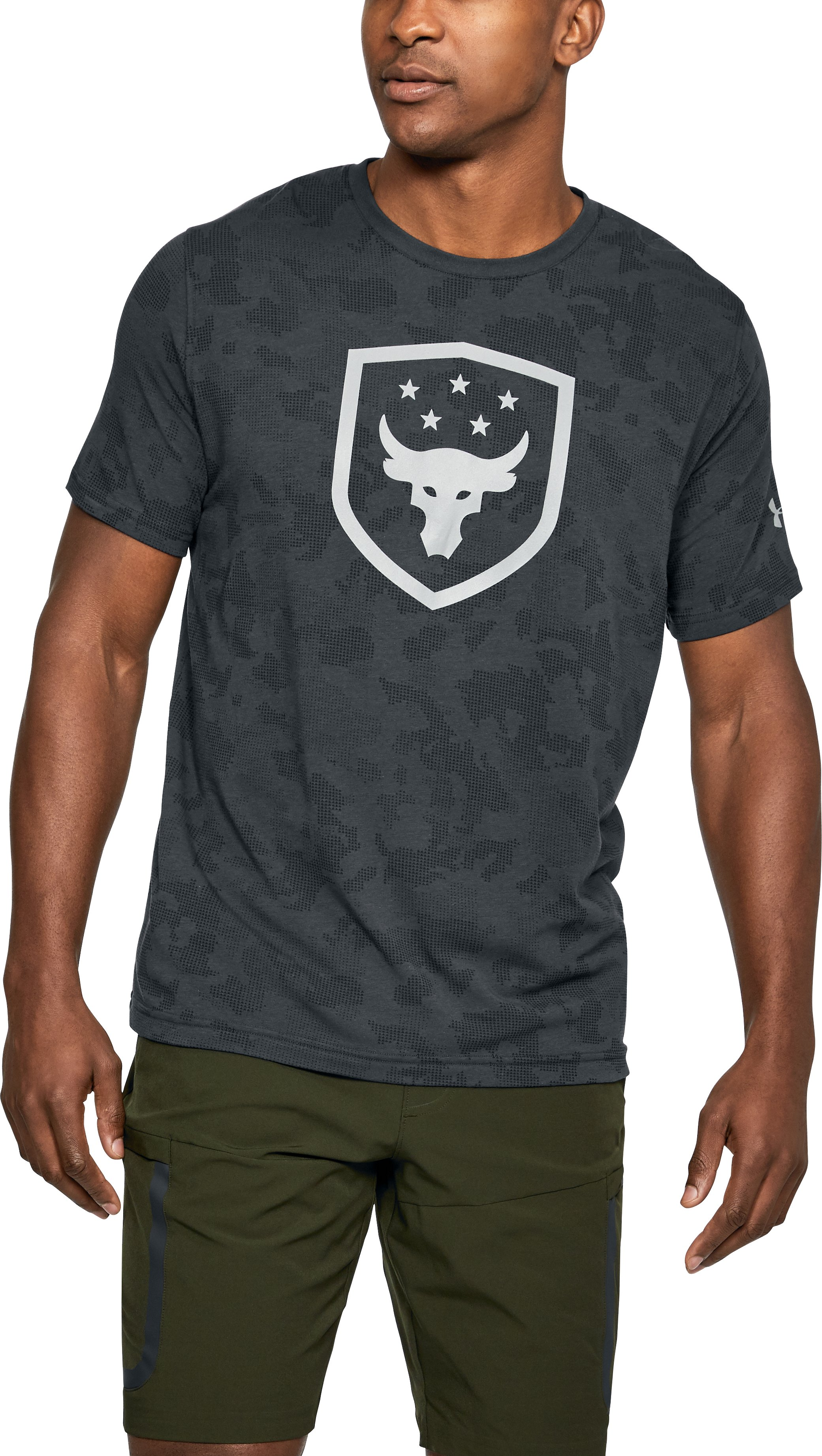 Men's UA x Project Rock Bull Shield T-Shirt, ANTHRACITE, undefined