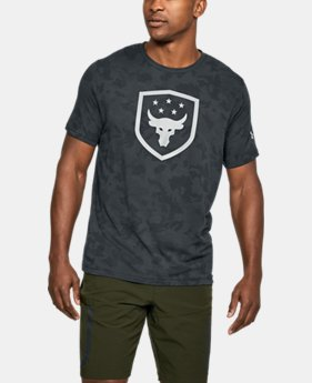 New Arrival Men's UA x Project Rock Bull Shield T-Shirt  1 Color $34.99