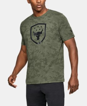 New Arrival Men's UA x Project Rock Bull Shield T-Shirt  2 Colors $34.99