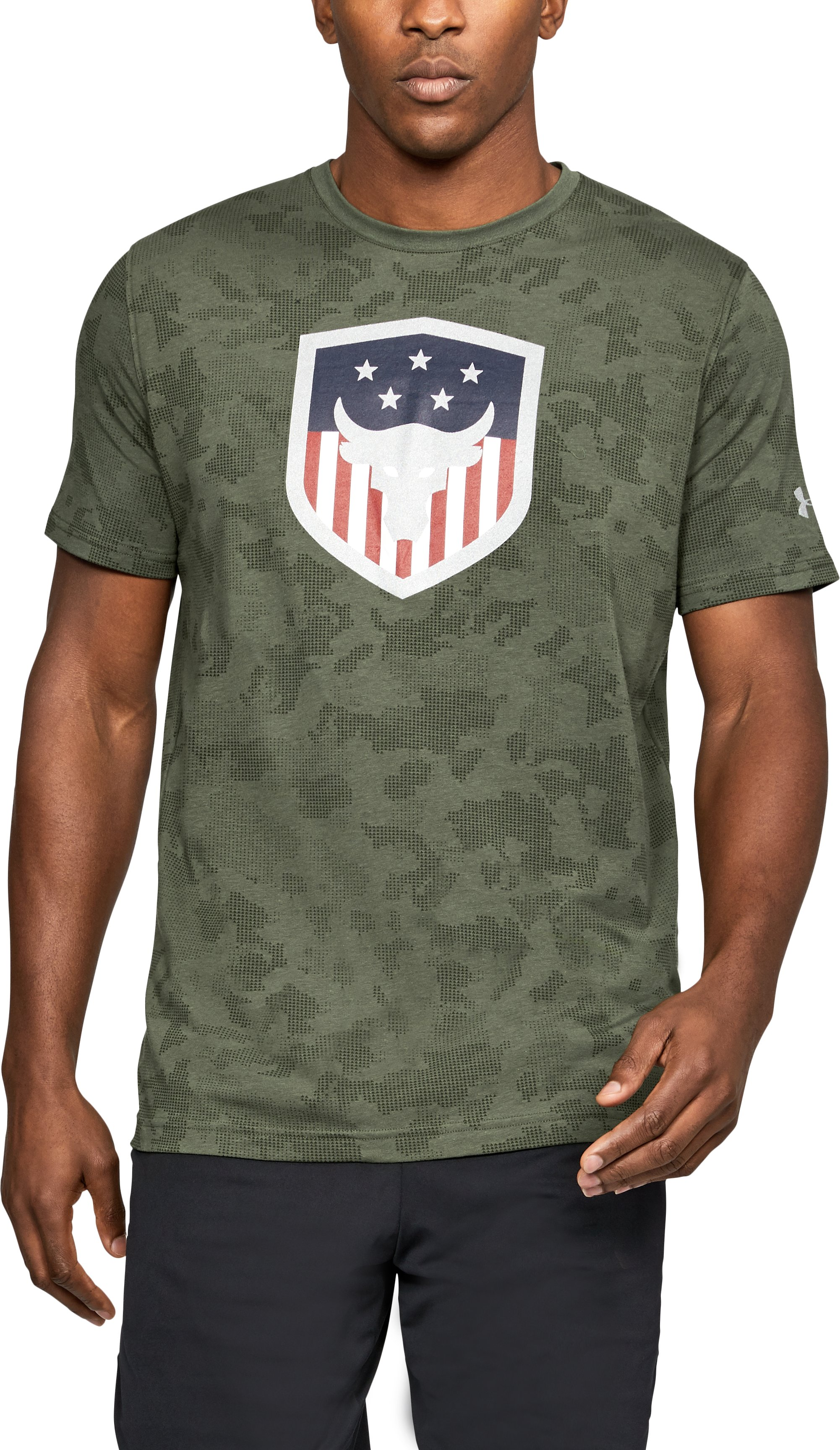 Men's UA x Project Rock Bull Shield T-Shirt, DOWNTOWN GREEN