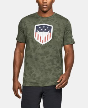 Men's UA x Project Rock Bull Shield T-Shirt  1  Color Available $26.24 to $26.99