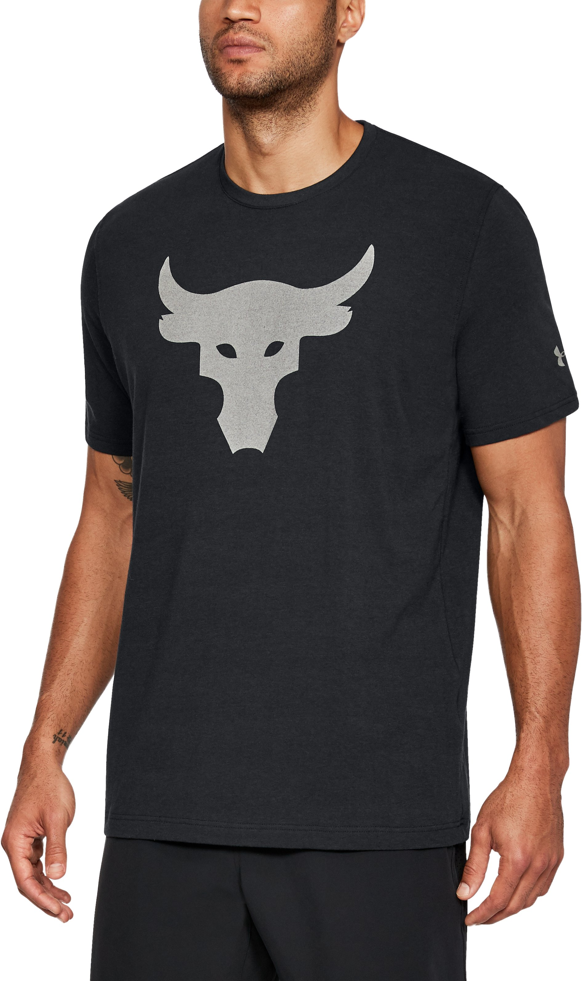 Men's UA x Project Rock Stealth Bull T-Shirt, Black ,