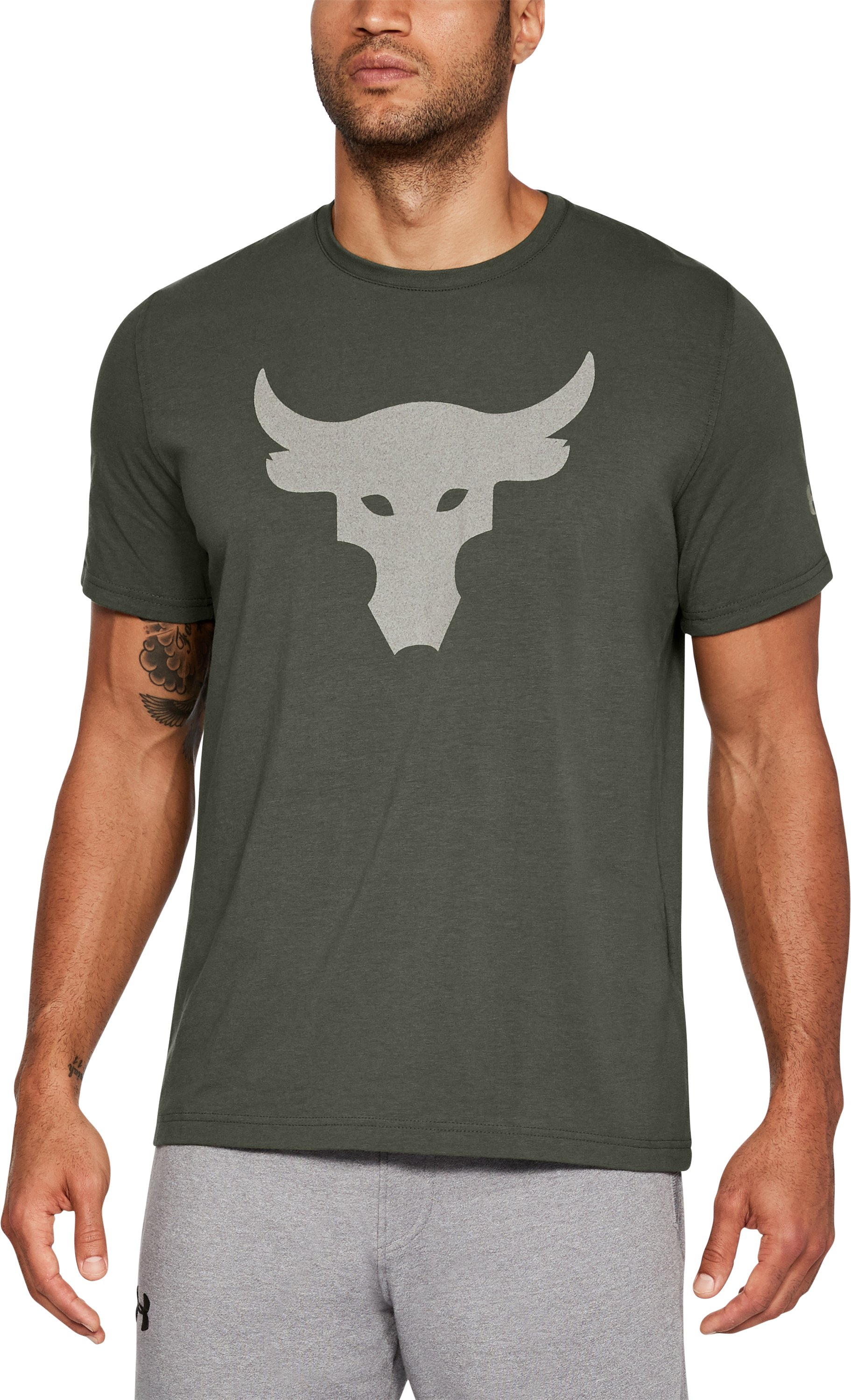 Men's UA x Project Rock Stealth Bull T-Shirt, DOWNTOWN GREEN