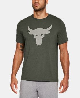 New Arrival Men's UA x Project Rock Stealth Bull T-Shirt  1 Color $34.99