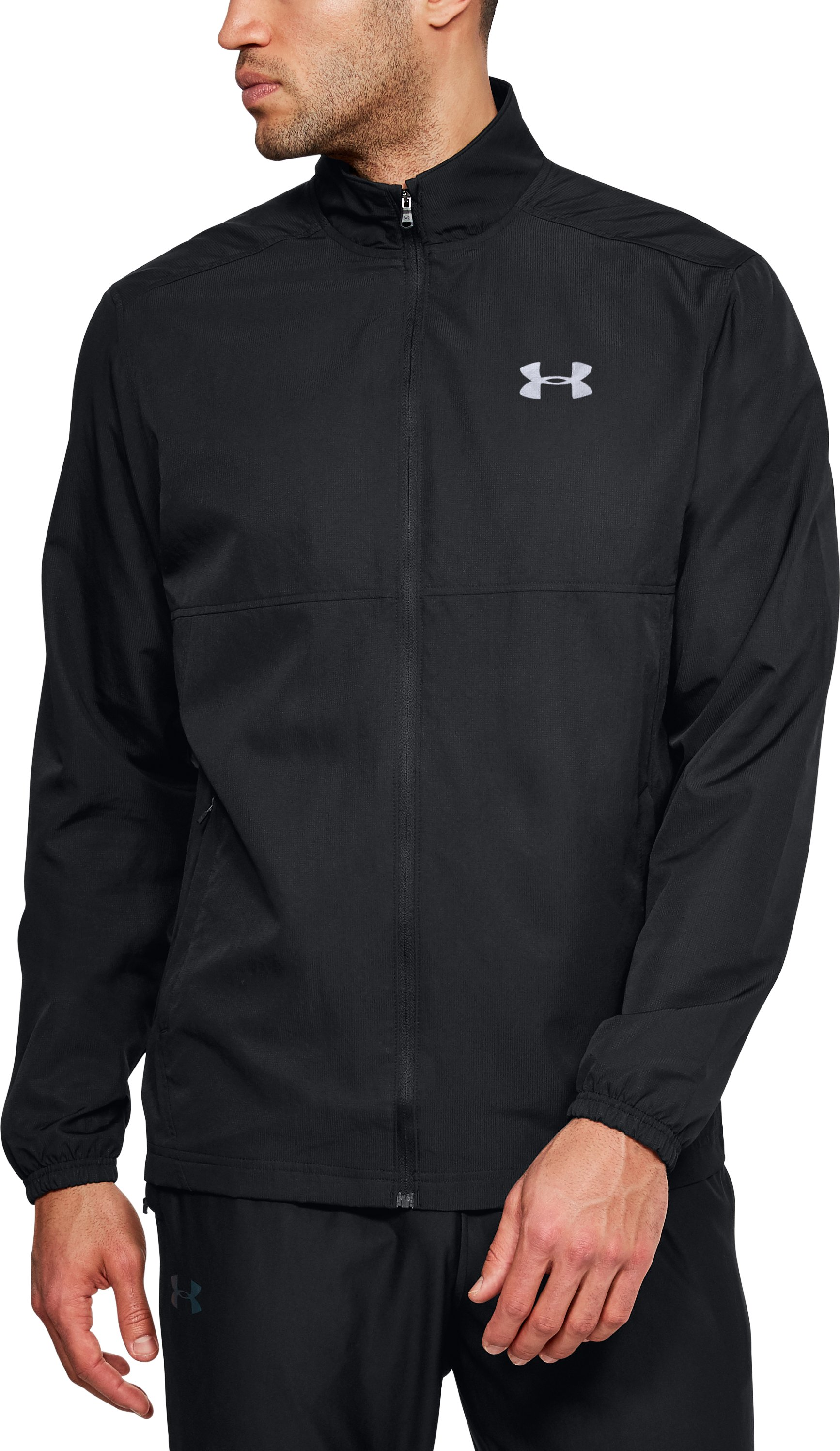 Men's UA Sportstyle Woven Full Zip Jacket, Black