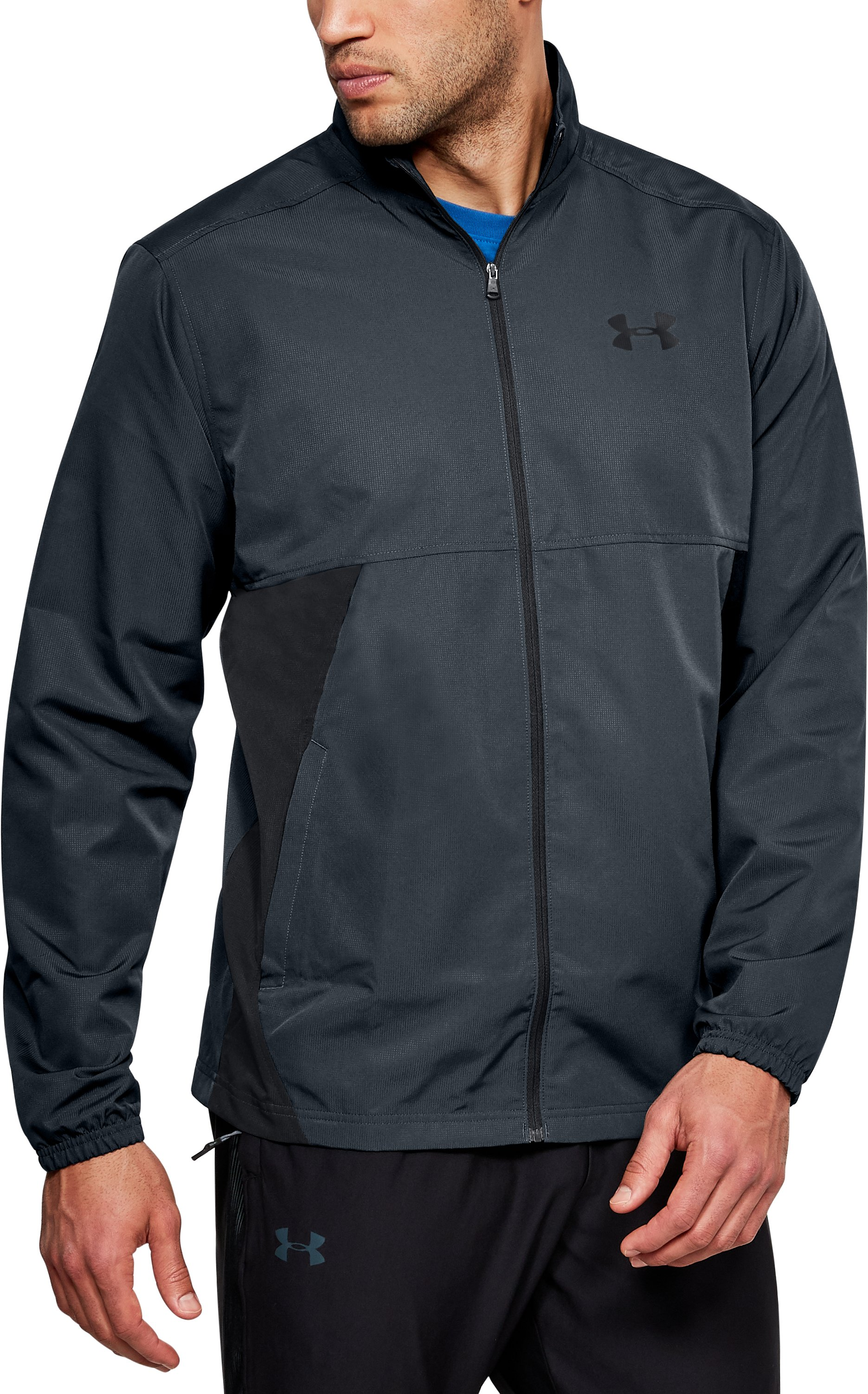 Men's UA Sportstyle Woven Full Zip Jacket, STEALTH GRAY