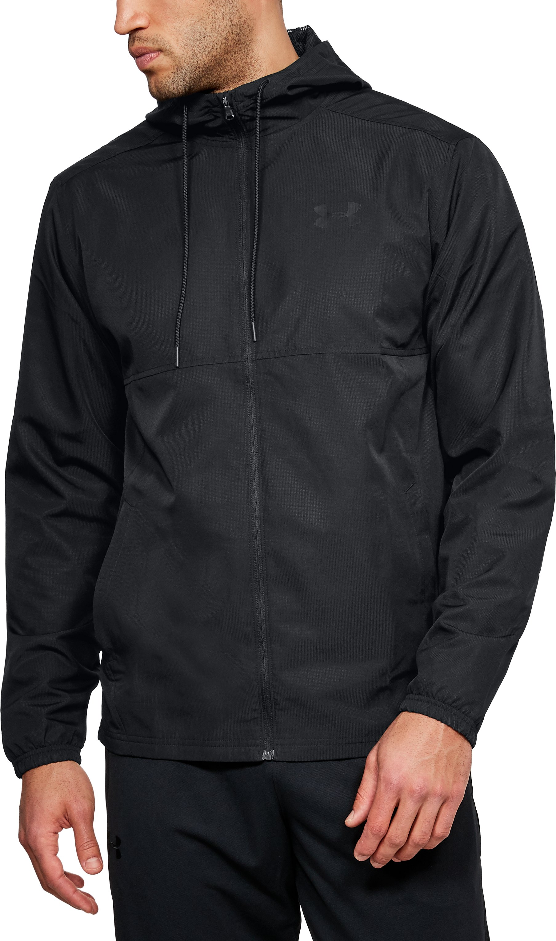 Men's UA Sportstyle Woven Full Zip Hoodie, Black