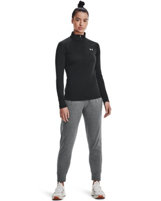 Under Armour UA HeatGear Tech Femmes Gris 1//2 Zip Sports réchauffer Running Top