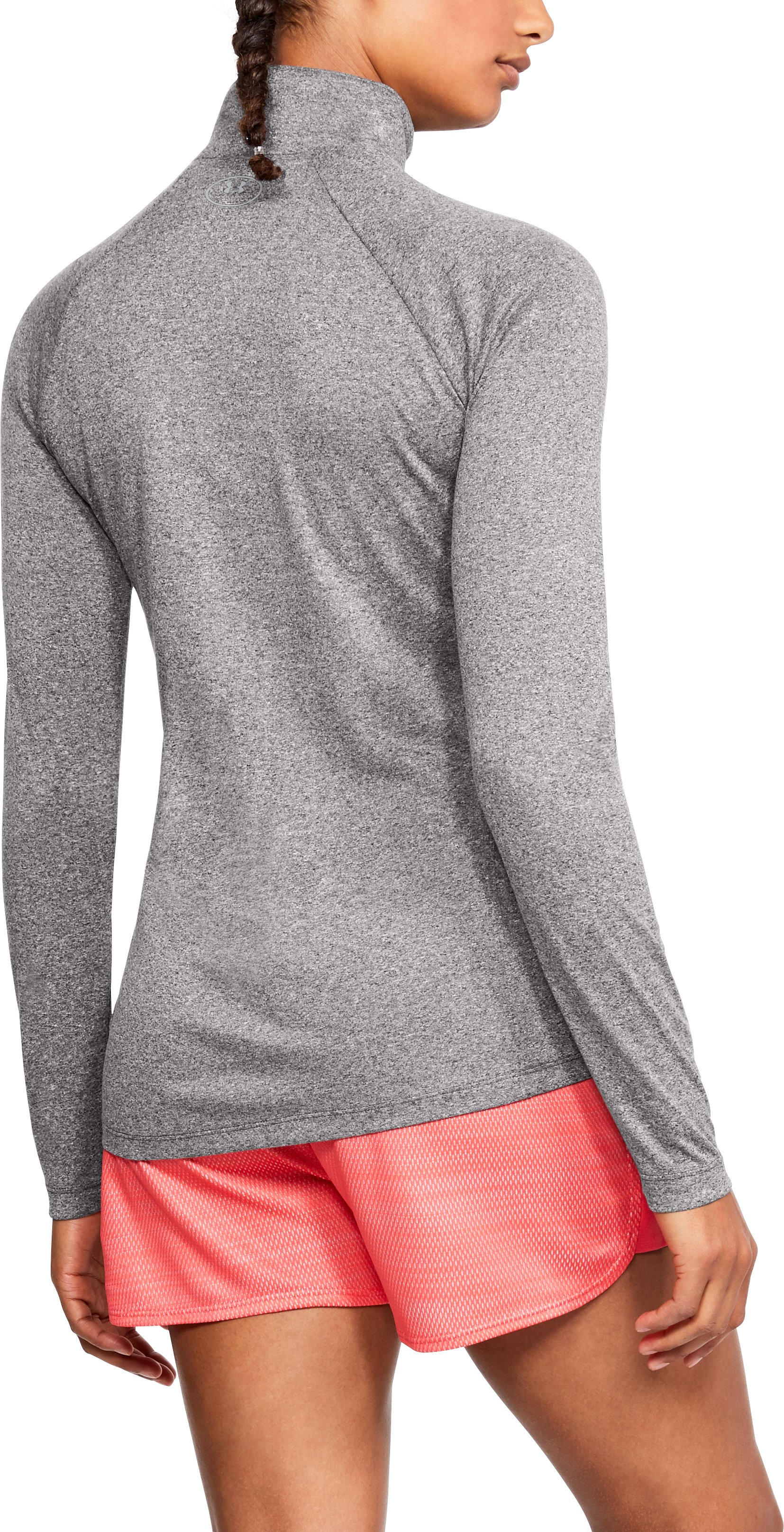 Women's UA Tech™ ½ Zip, CHARCOAL LIGHT HEATHER,