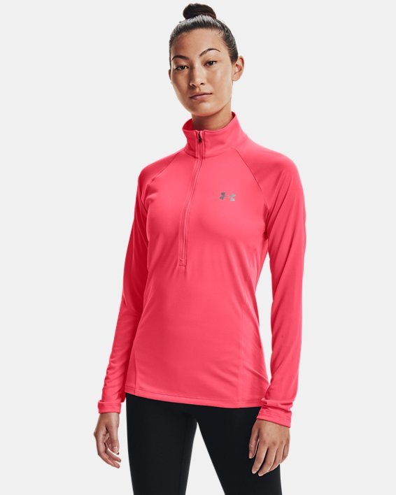Women's UA Tech™ ½ Zip, Pink, pdpMainDesktop image number 0