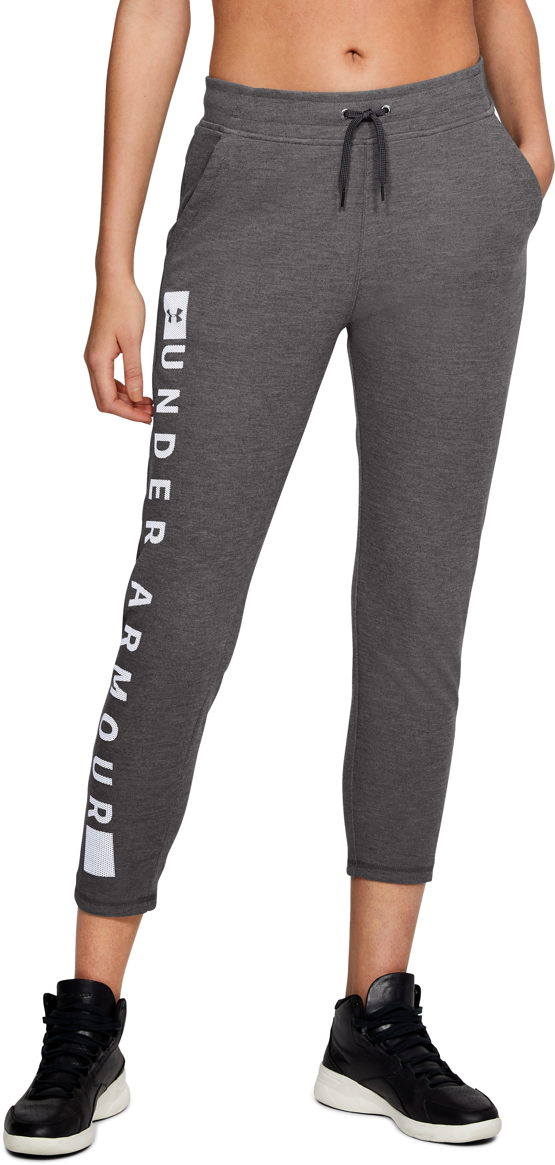 Women's UA Siro Graphic Pants, CHARCOAL LIGHT HEATHER,
