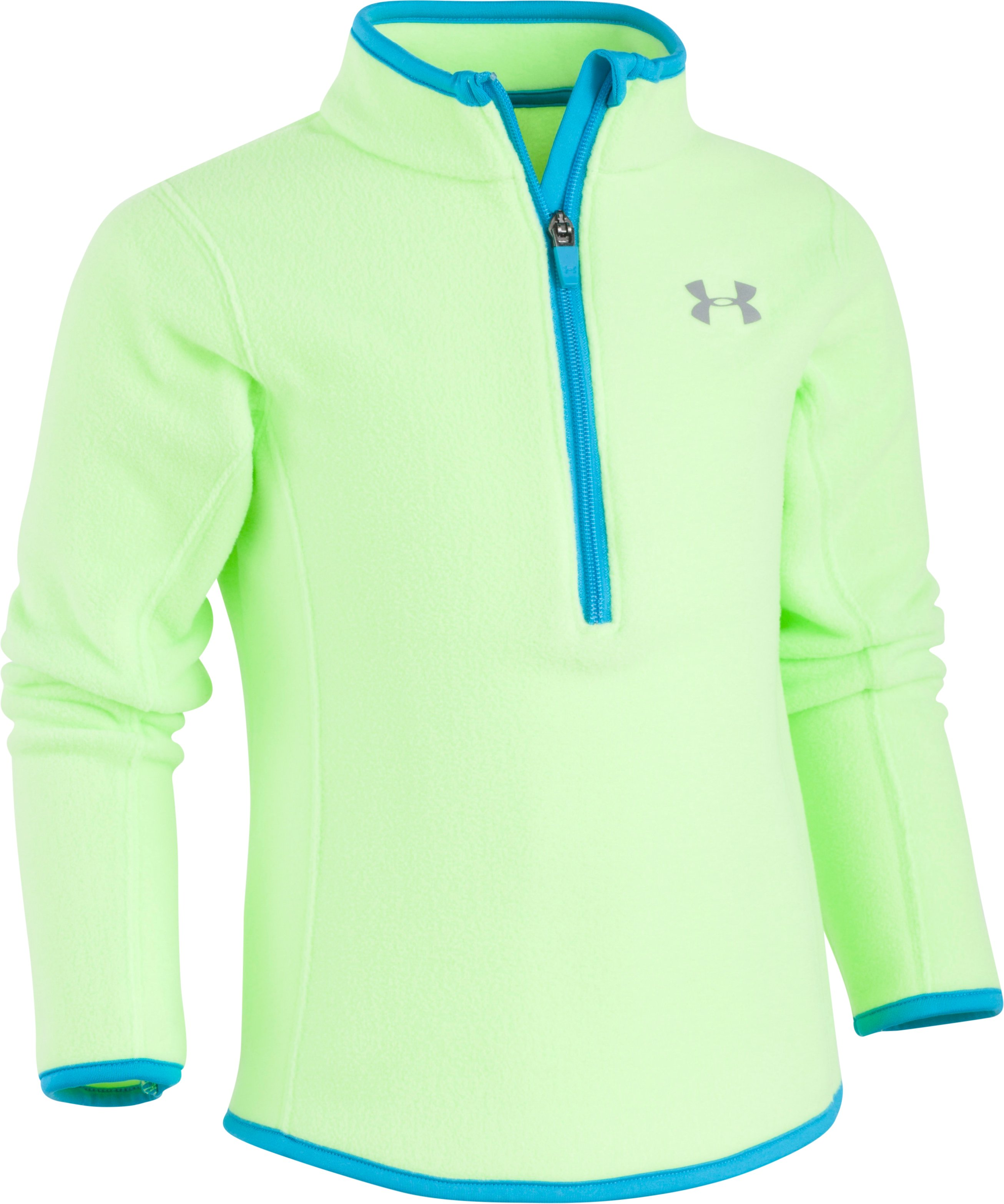 Girls' Pre-School UA Solid ¼ Zip, QUIRKY LIME, Laydown