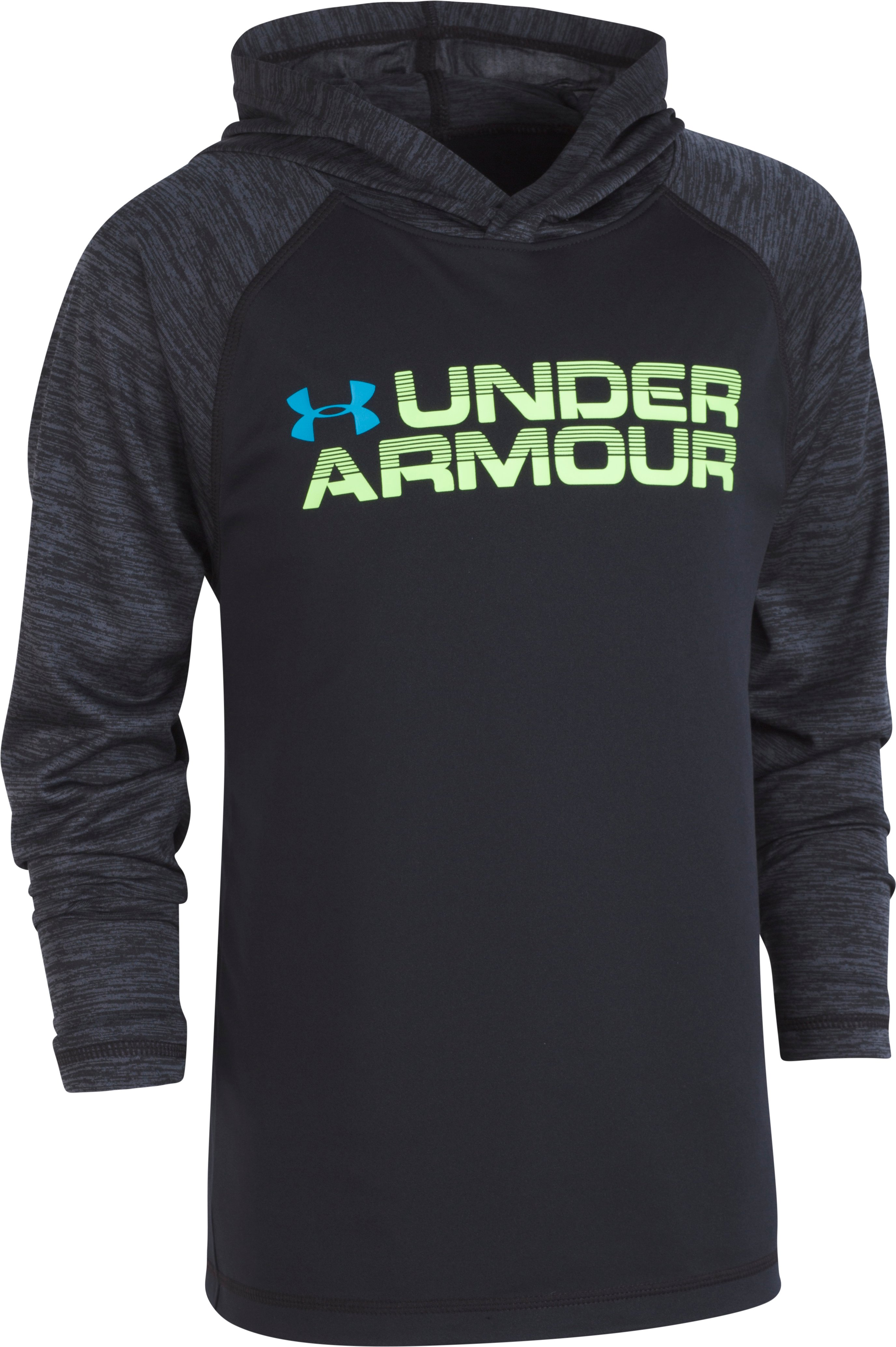 Boys' Pre-School UA Wordmark Twist Tech Hoodie, Black , zoomed