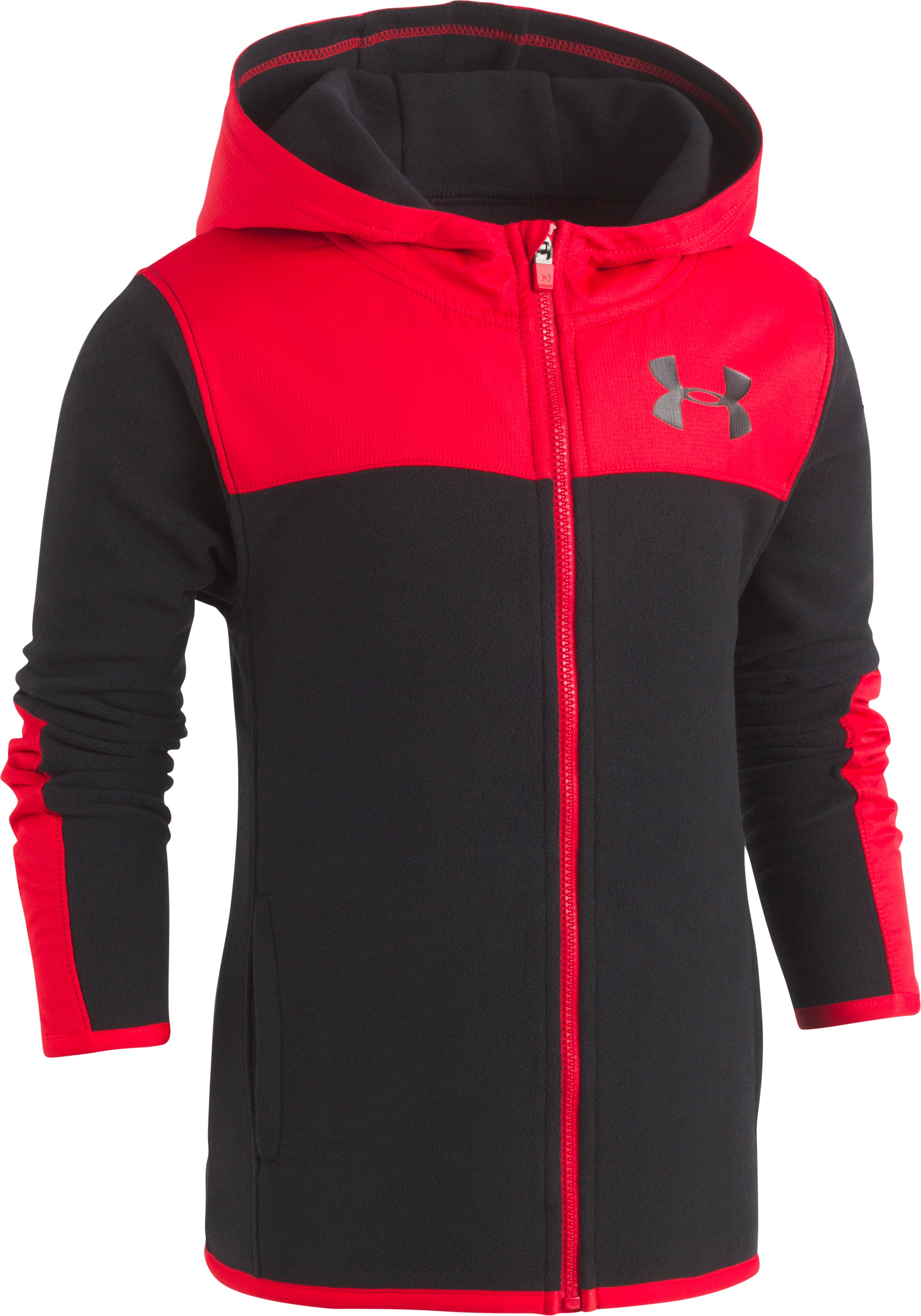 Boys' Pre-School UA Cozy Hoodie Full Zip, Black , Laydown