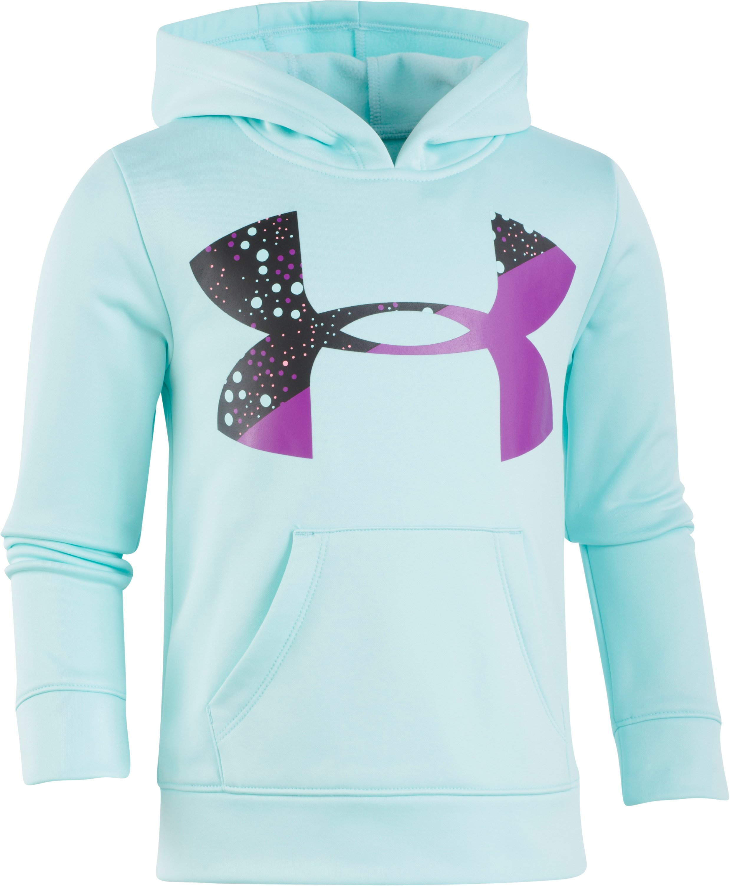 Girls' Pre-School UA Astro Dot Big Logo Hoodie, Blue Infinity, Laydown