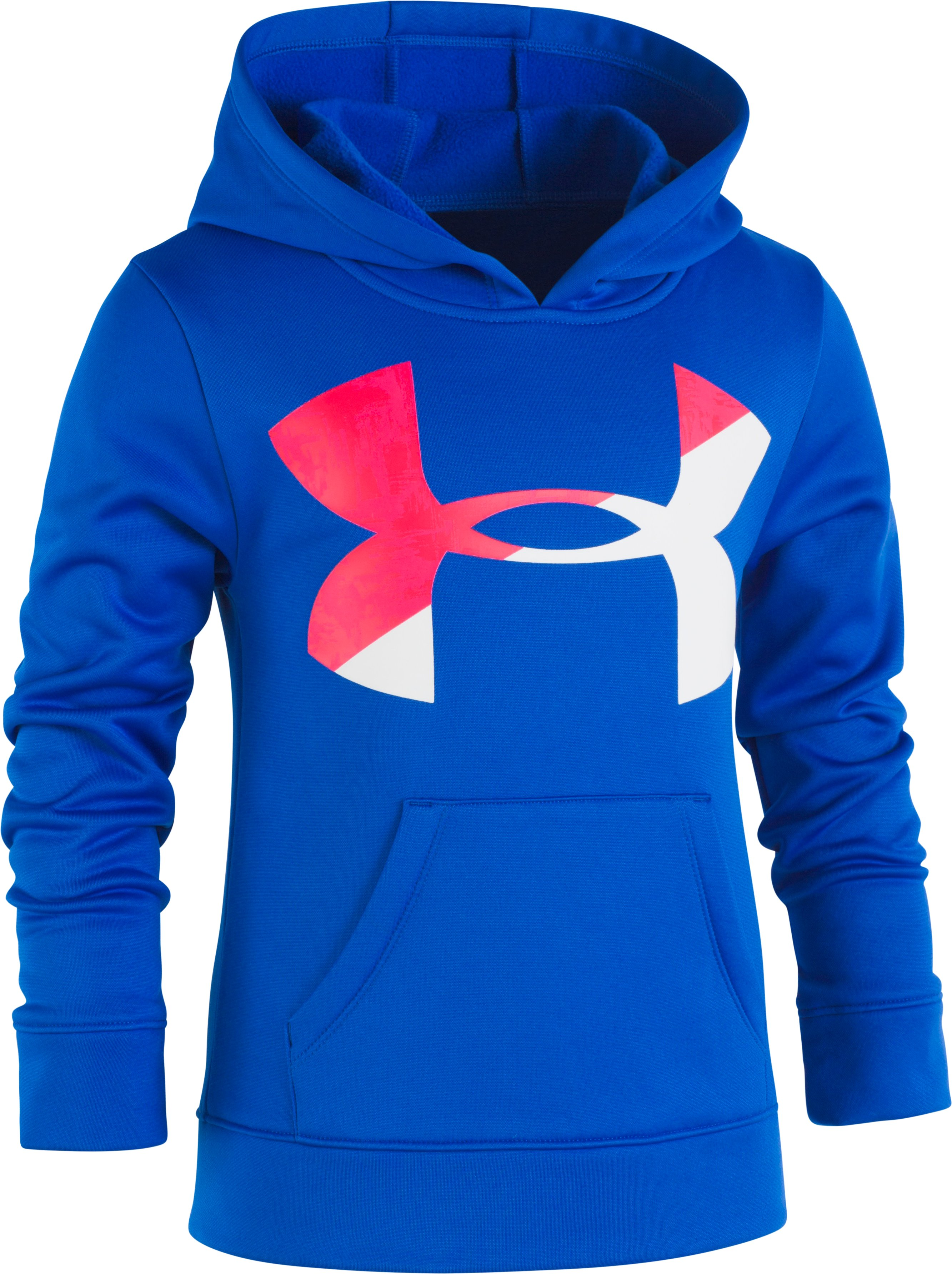 Girls' Pre-School UA Painted Streaks Big Logo Hoodie, Lapis Blue, Laydown
