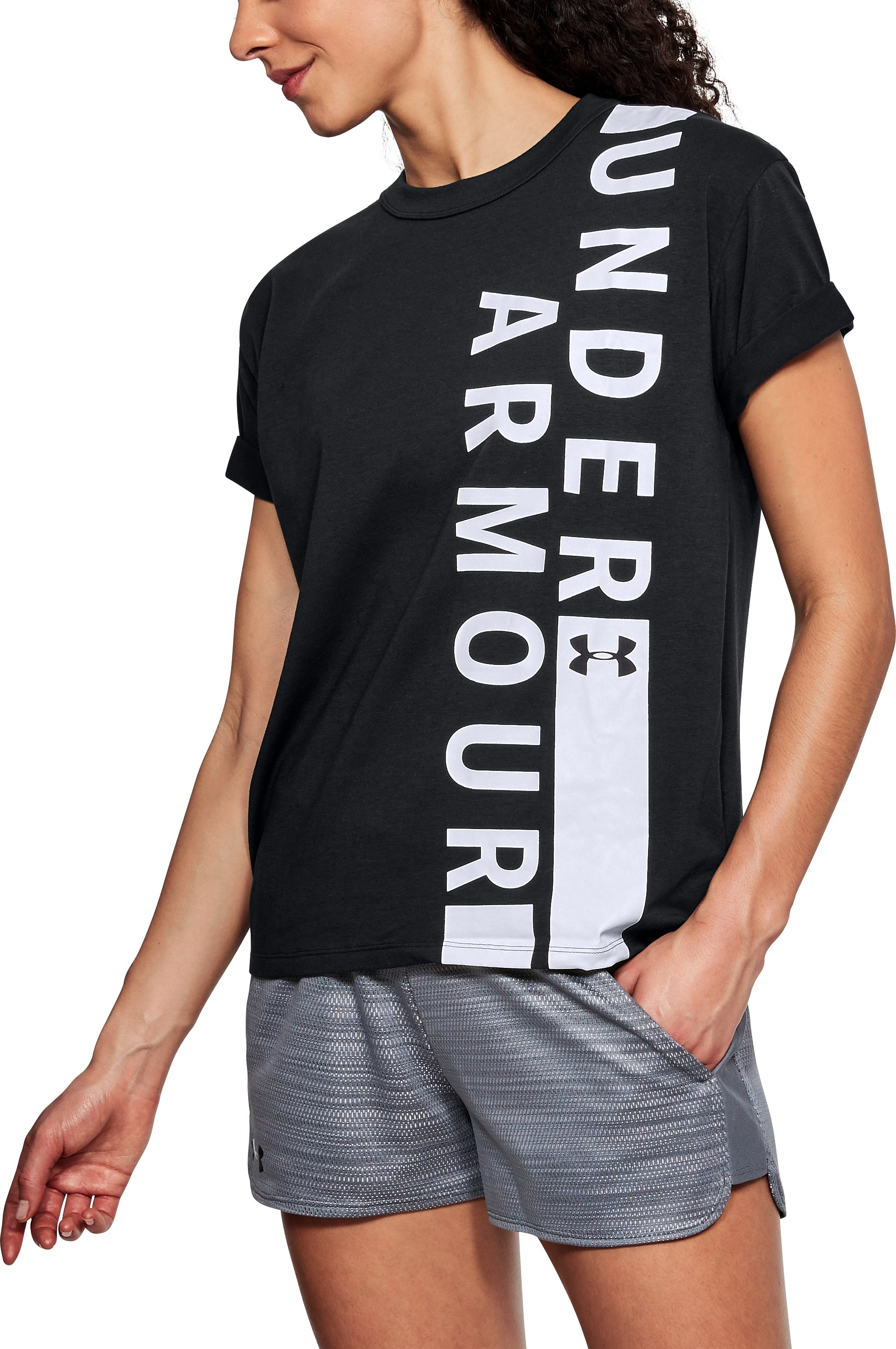 Women's UA Girlfriend Wordmark Crew, Black ,