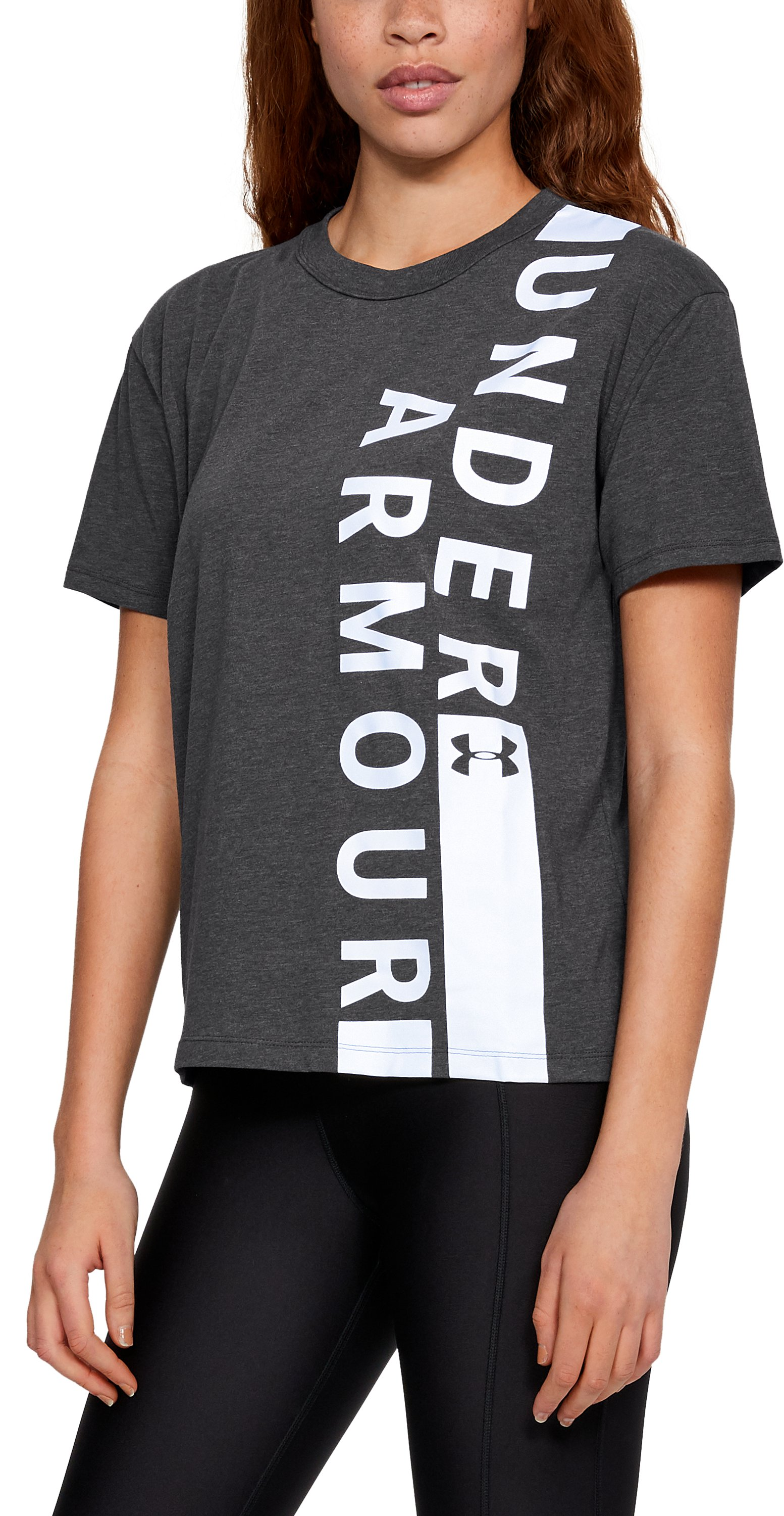 Women's UA Girlfriend Wordmark Crew, CHARCOAL MEDIUM HEATHER,