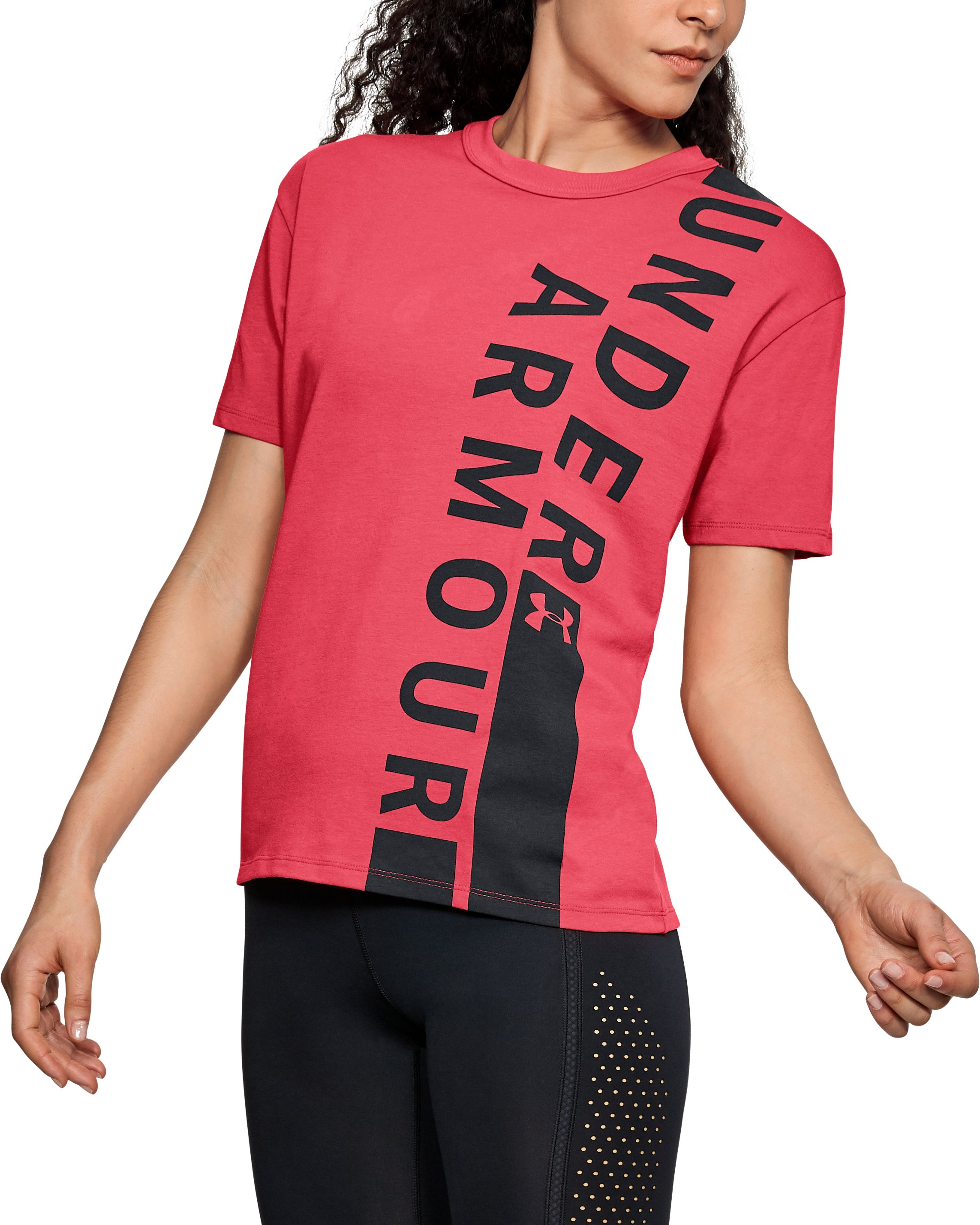 Women's UA Girlfriend Wordmark Crew, CORAL COVE