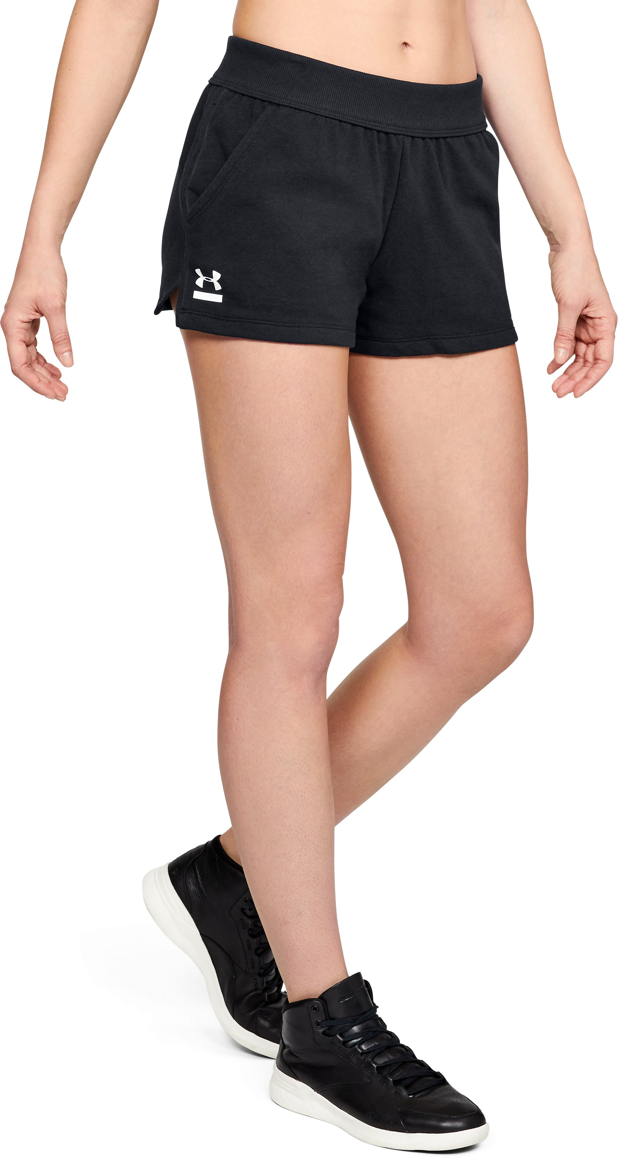 Women's UA 24/7 Microthread Terry Shorts, Black