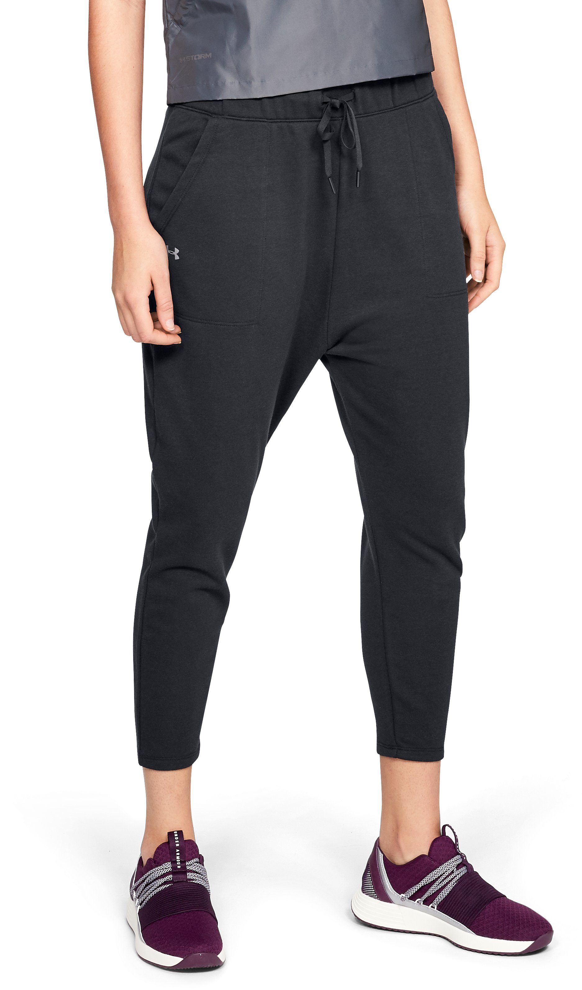 Women's UA Favorite Terry Tapered Slouch Crop, Black