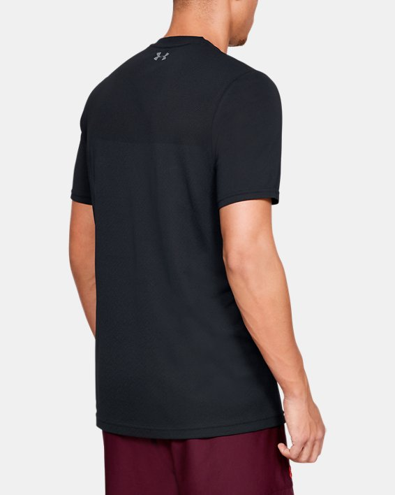 Men's UA Vanish Seamless Short Sleeve V-Neck, Black, pdpMainDesktop image number 2