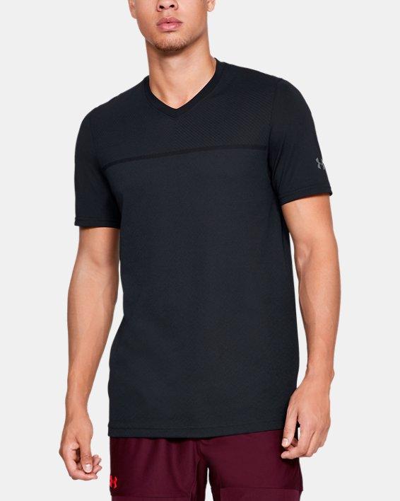 Men's UA Vanish Seamless Short Sleeve V-Neck, Black, pdpMainDesktop image number 0