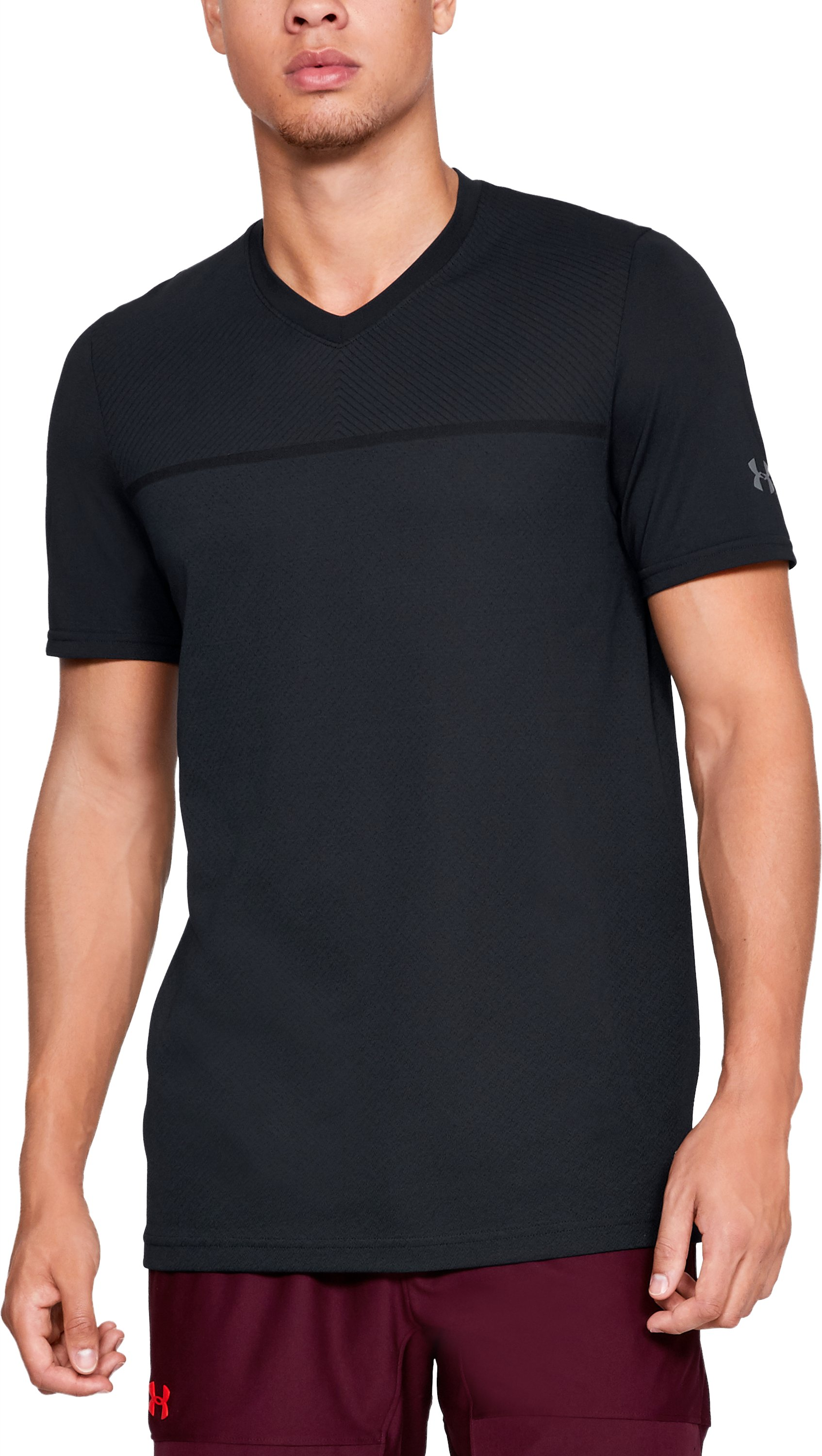 Men's UA Vanish Seamless Short Sleeve V-Neck, Black ,