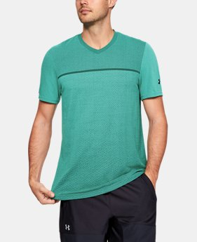 Men's UA Vanish Seamless Short Sleeve V-Neck  1  Color Available $50