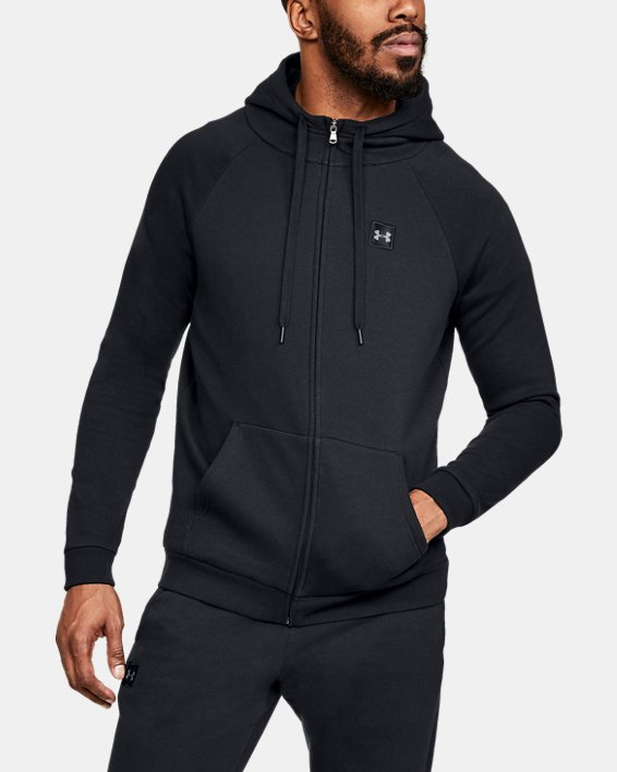 Men's UA Rival Fleece Full-Zip, Black, pdpMainDesktop image number 0