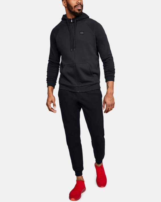 Men's UA Rival Fleece Full-Zip, Black, pdpMainDesktop image number 1