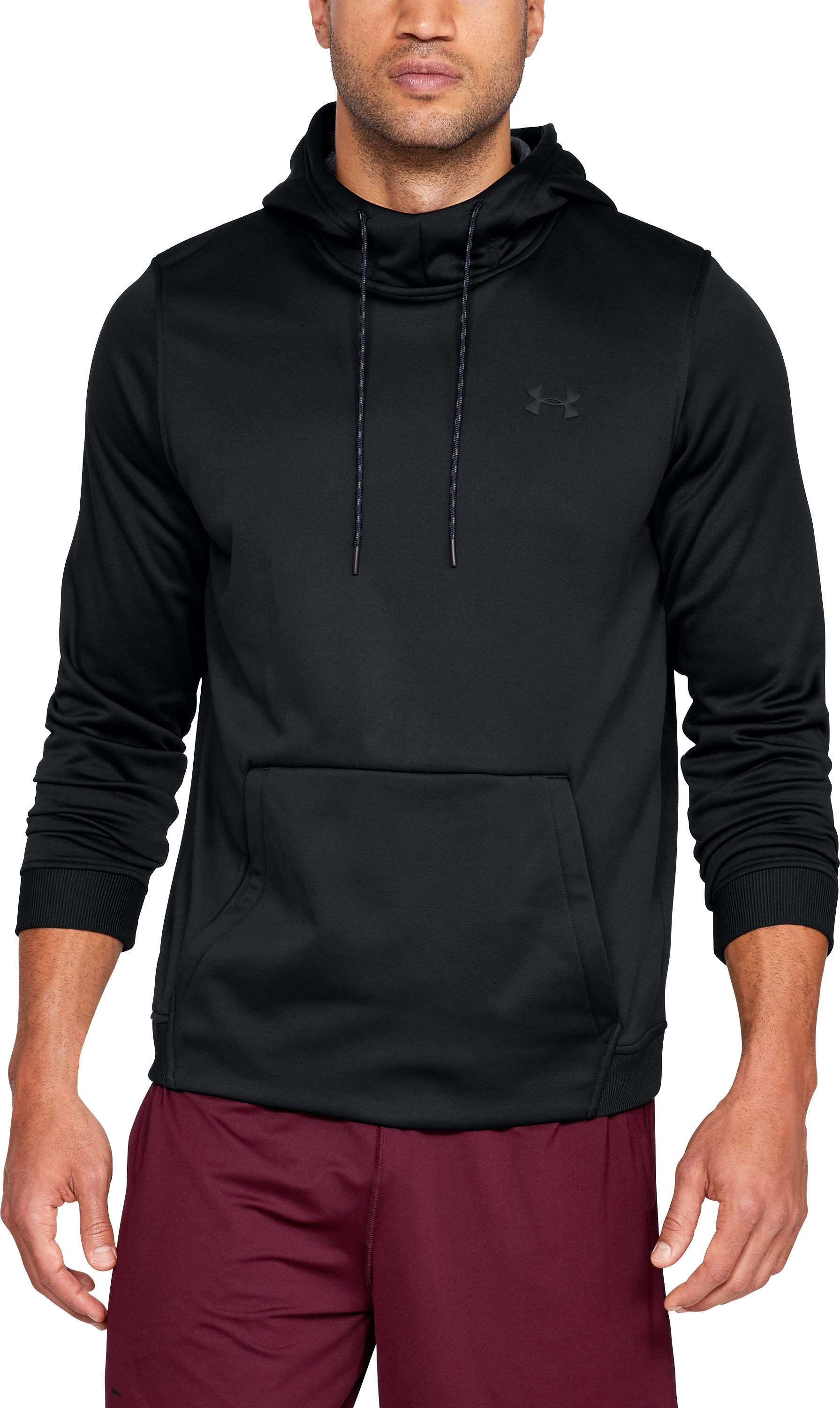 ARMOUR FLEECE PO HOODIE, Black , zoomed