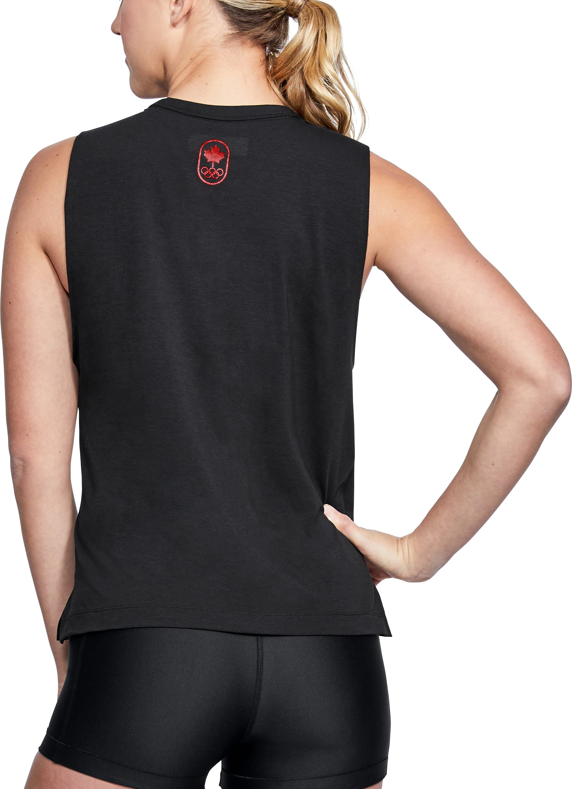 Women's UA Team Canada Performance Graphic Muscle Tank, Black ,