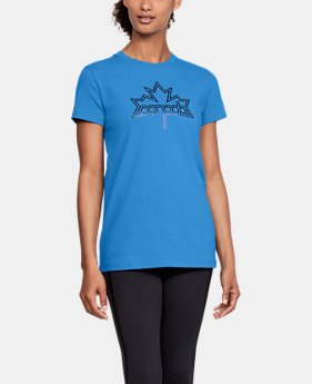 New Arrival  Women's UA Team Canada Performance Leaf Graphic T-Shirt  1 Color $40