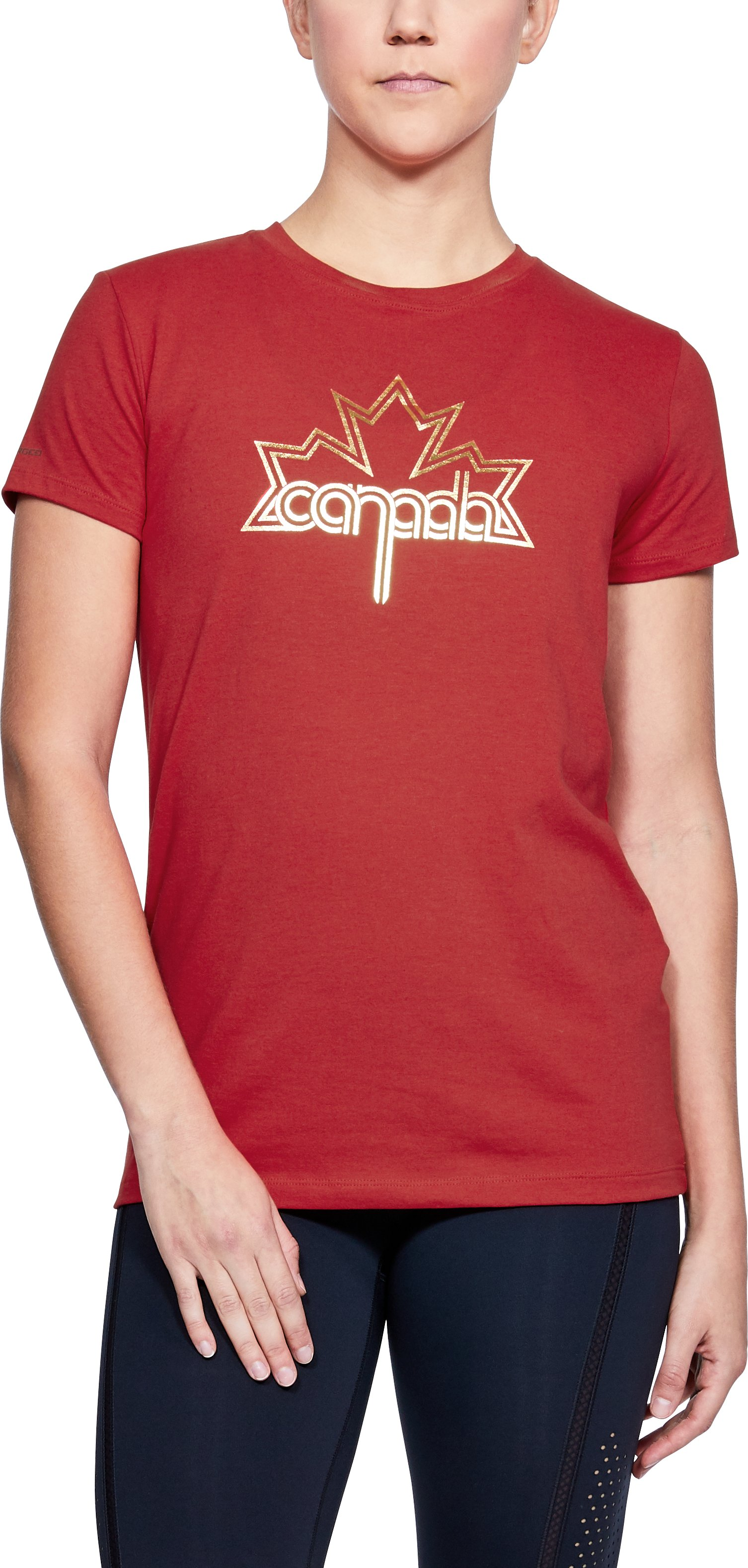 Women's UA Team Canada Performance Leaf Graphic T-Shirt, Red, zoomed