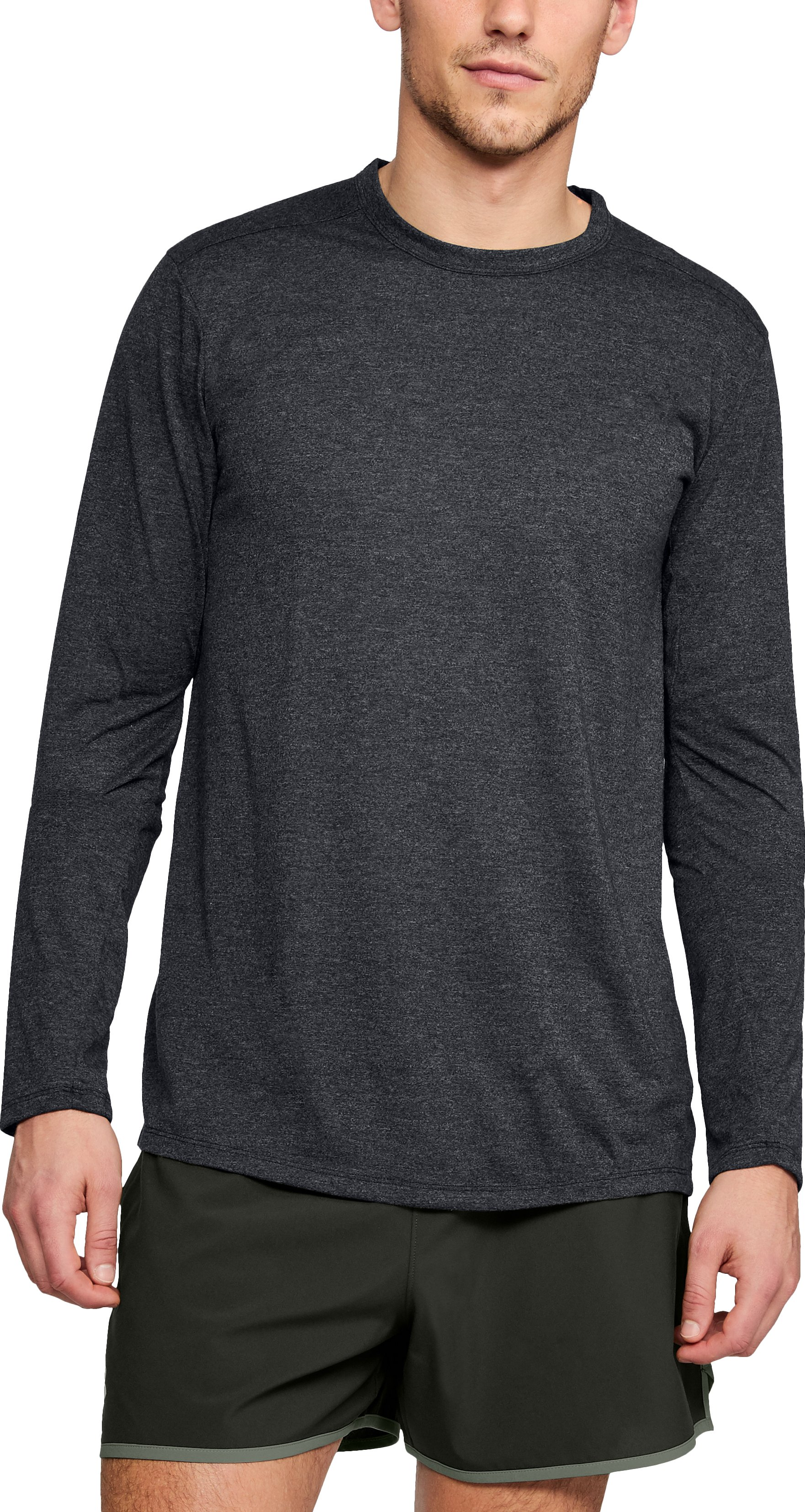 Men's UA Microthread Long Sleeve, BLACK FULL HEATHER,
