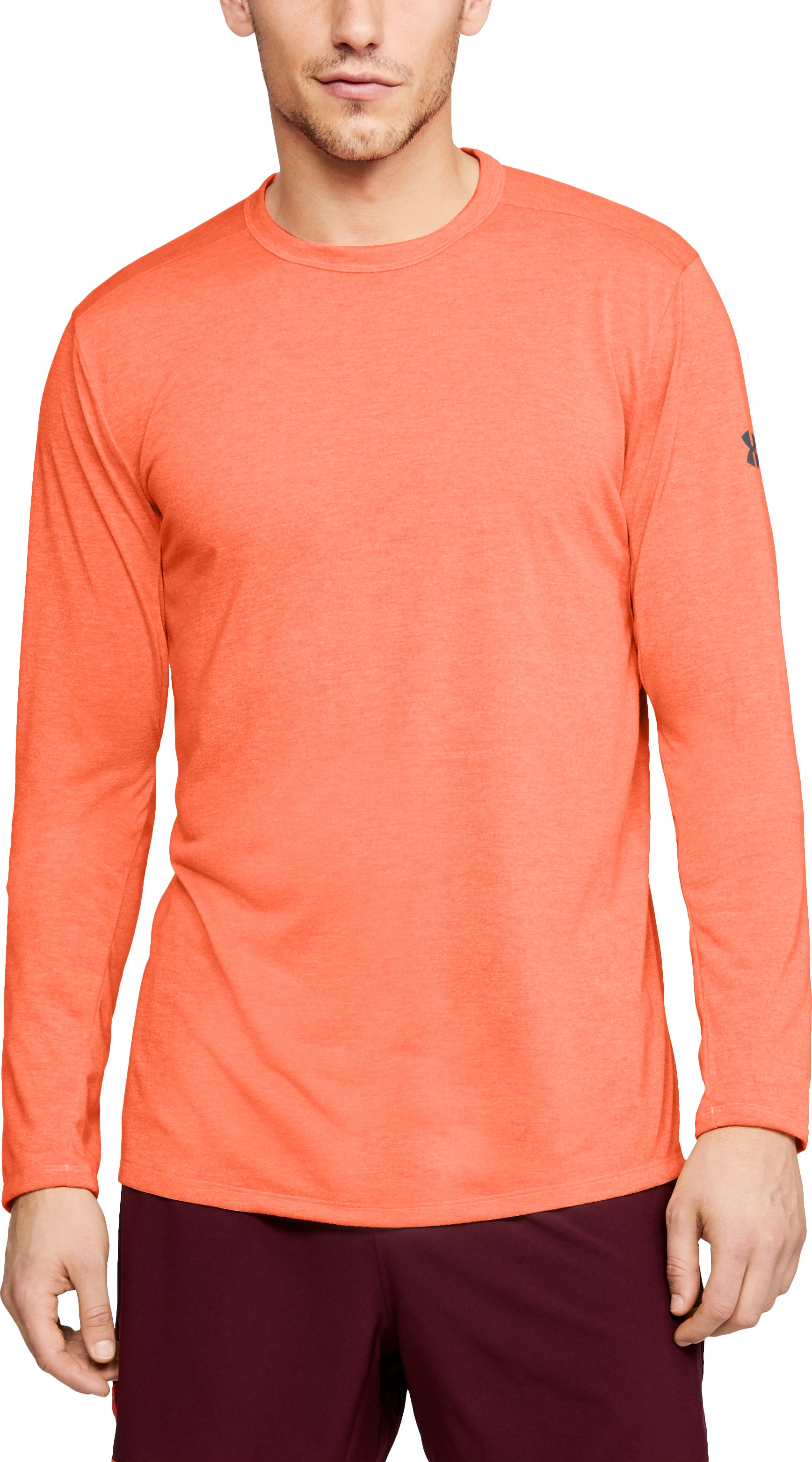 Men's UA Microthread Long Sleeve, MAGMA ORANGE