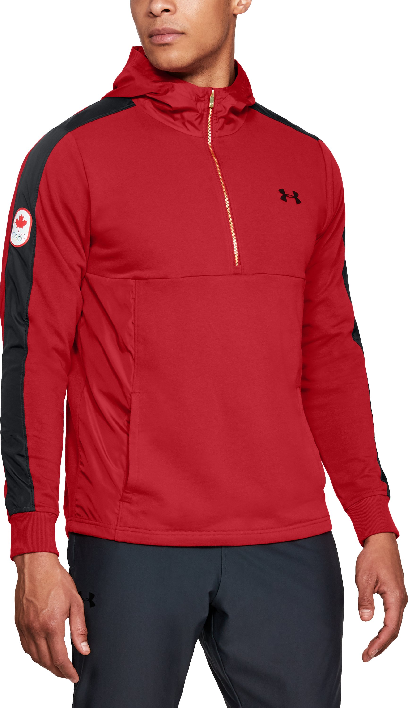 Men's UA Team Canada Performance Threadborne Terry ½ Zip Hoodie, Red, zoomed