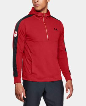 New Arrival  Men's UA Team Canada Performance Threadborne Terry ½ Zip Hoodie  1 Color $80