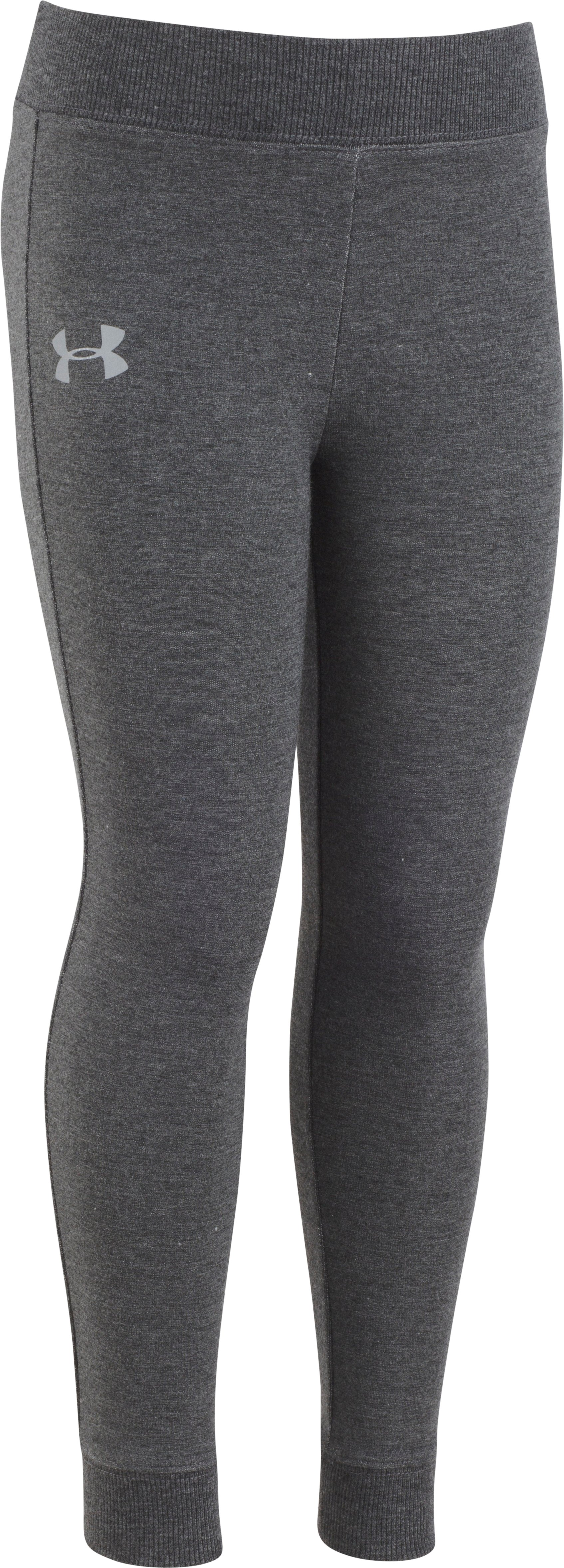Girls' Toddler UA Stretch French Terry Leggings, Carbon Heather, Laydown