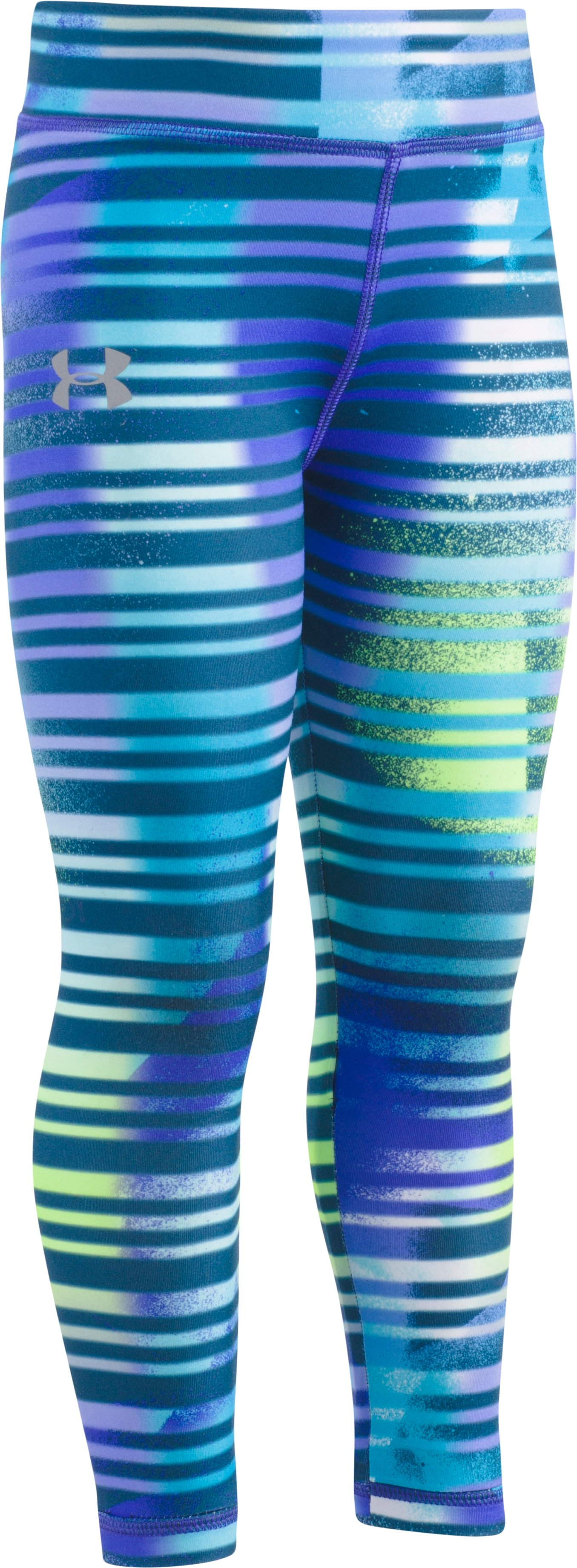 Girls' Pre-School UA Stripey Leggings, CONSTELLATION PURPLE, Laydown