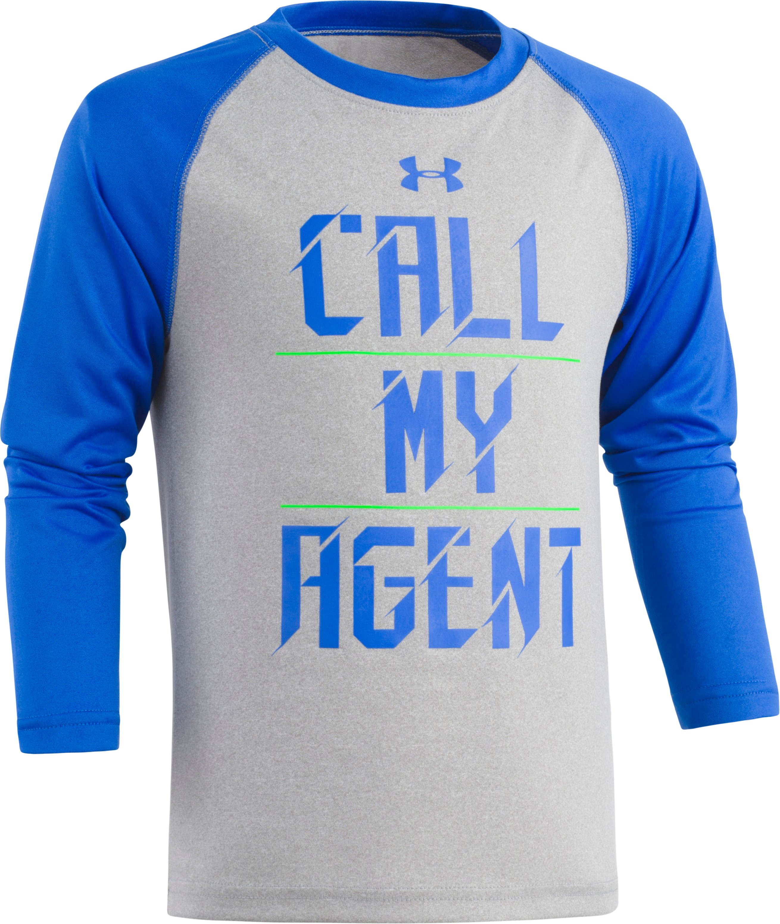 Boys' Pre-School UA Call My Agent Raglan Long Sleeve, True Gray Heather, Laydown
