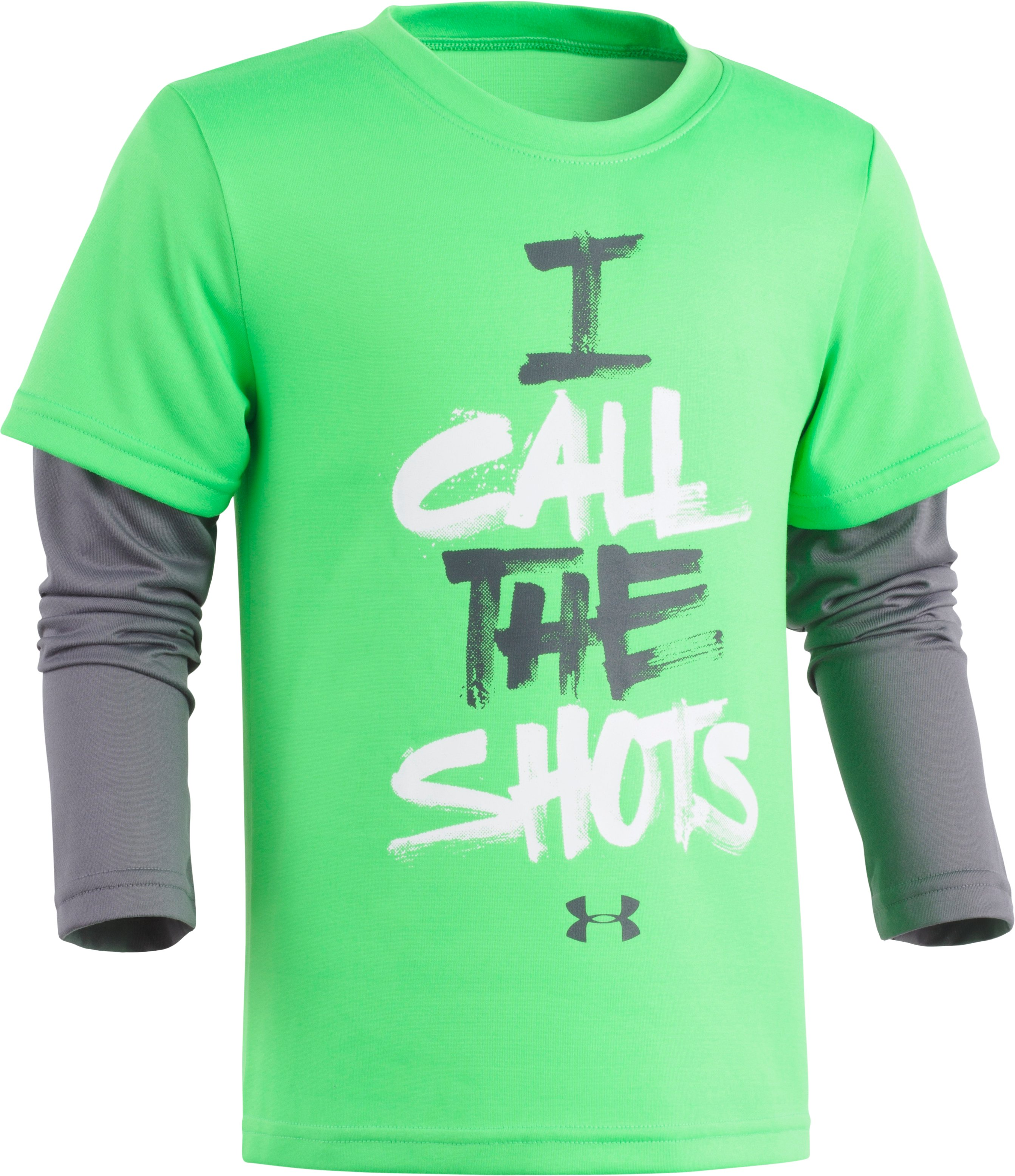 Boys' Pre-School UA I Call The Shots Slider Long Sleeve, LIME TWIST, Laydown