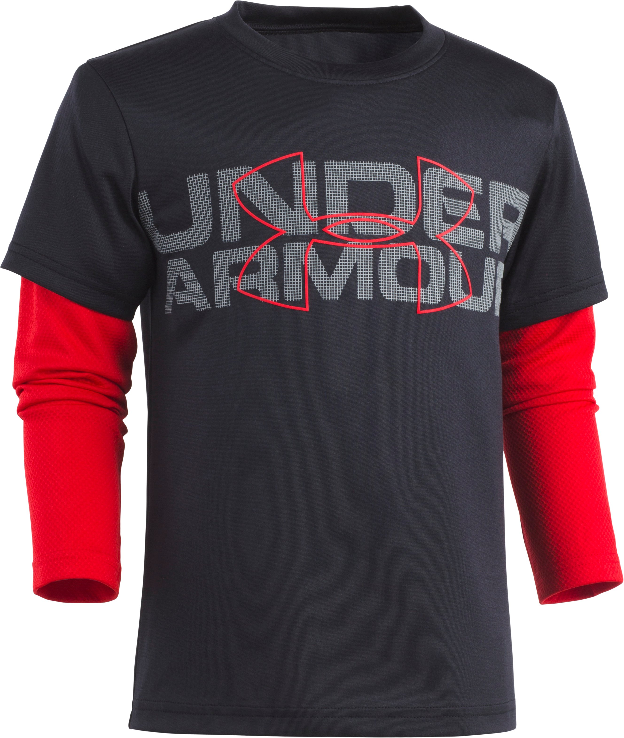 Boys' Pre-School UA Big Wordmark Slider, Black , Laydown