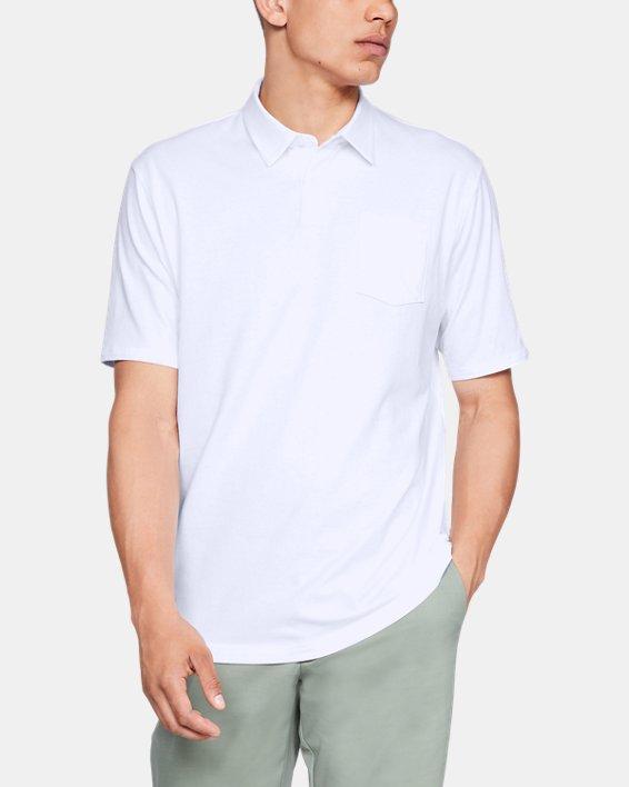 Men's Charged Cotton® Scramble Polo, White, pdpMainDesktop image number 0