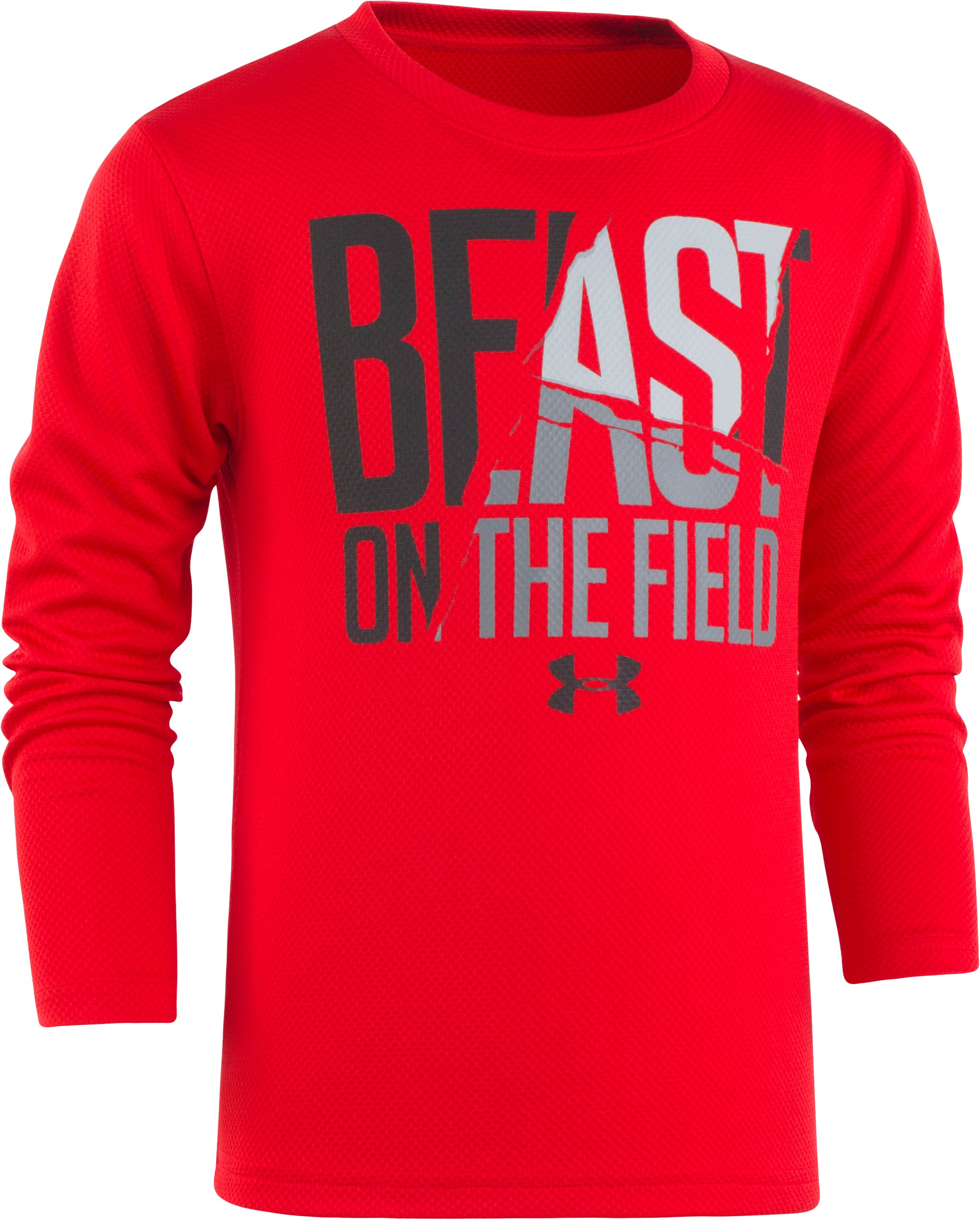 Boys' Pre-School UA Beast On The Field Long Sleeve Shirt, Red, Laydown