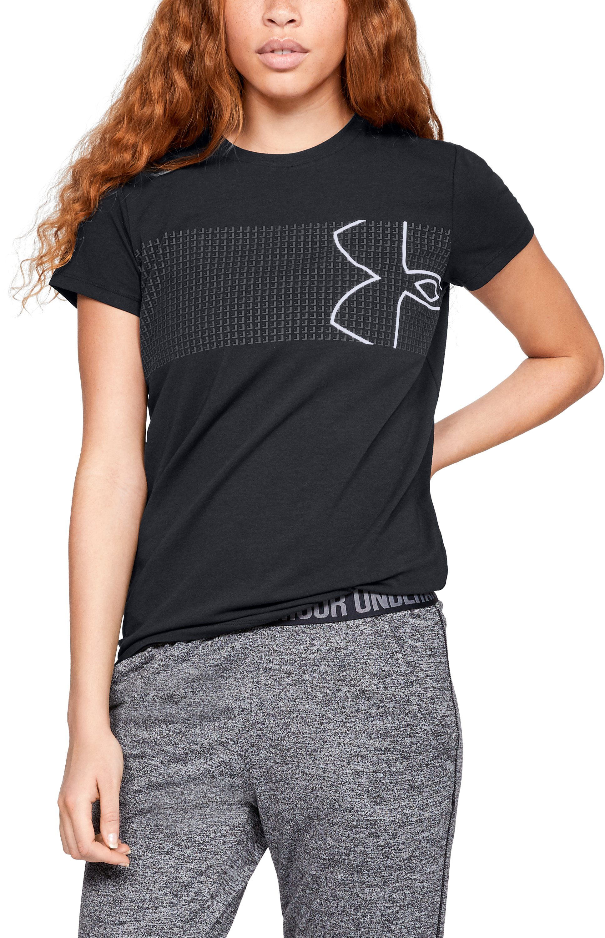 Women's UA Chest Logo T-Shirt, Black ,