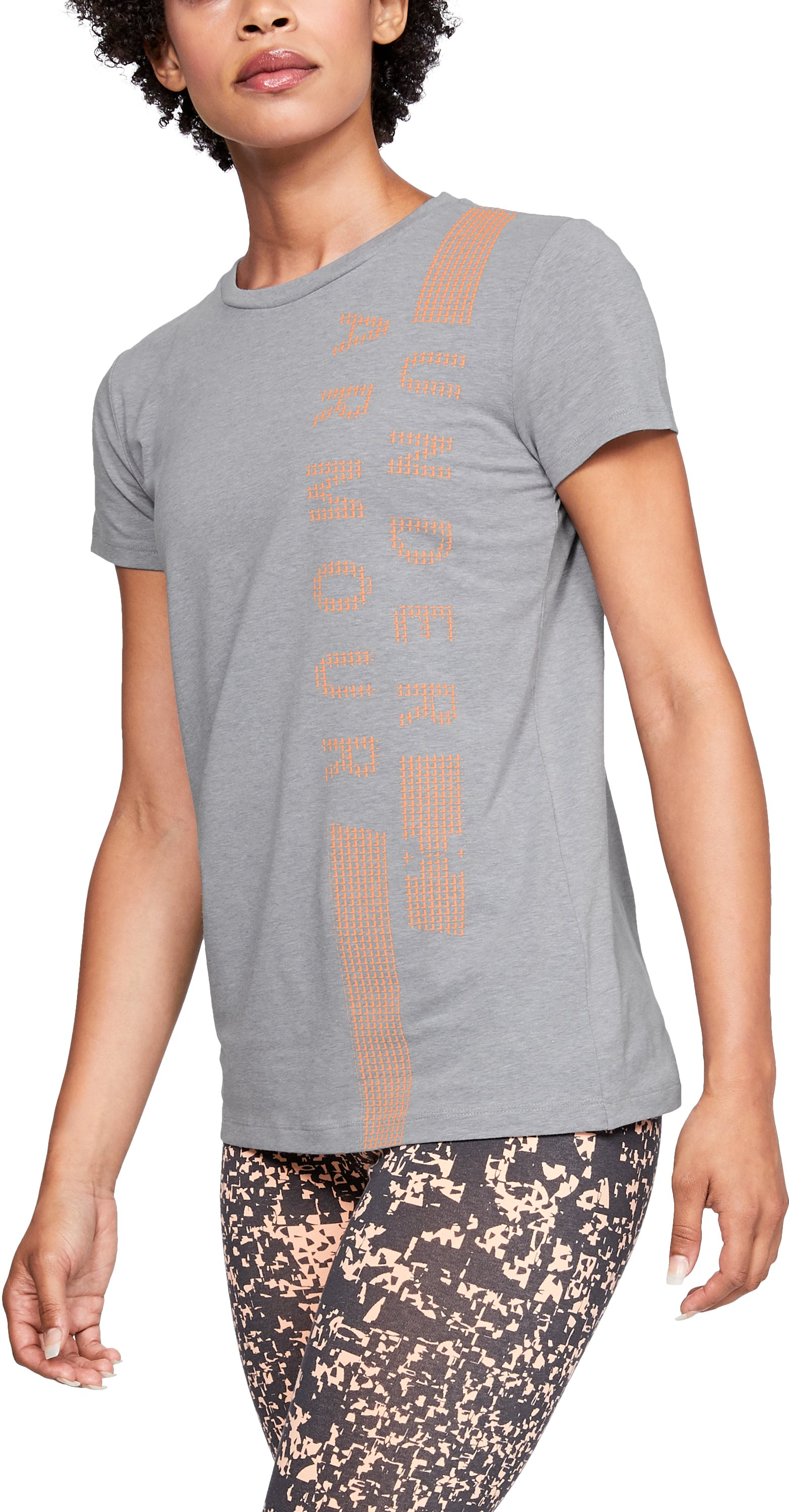 Women's UA Vertical T-Shirt, STEEL LIGHT HEATHER